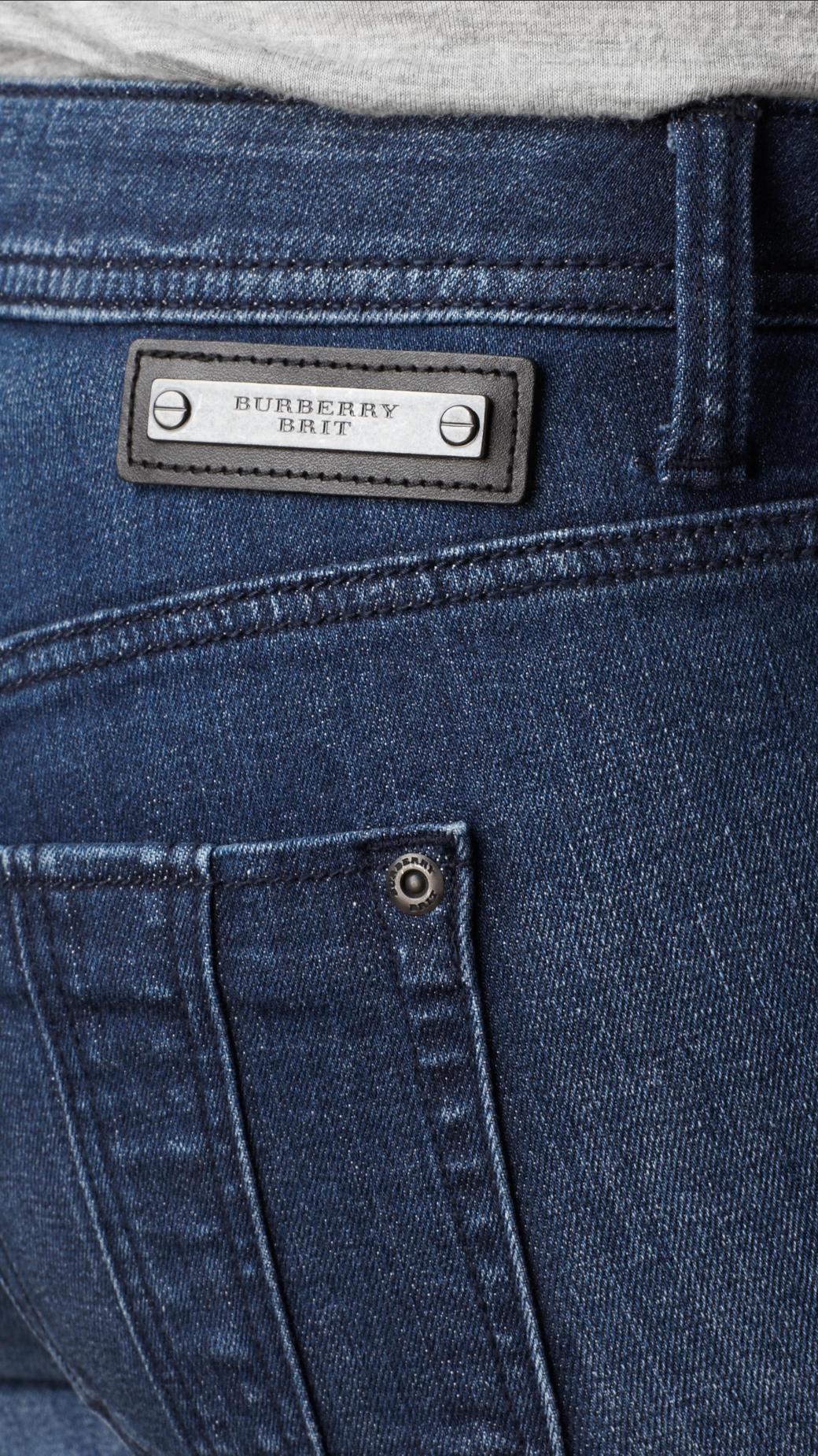 7e255582a47ed Lyst - Burberry Buckingham Skinny Fit Capri Jeans in Blue