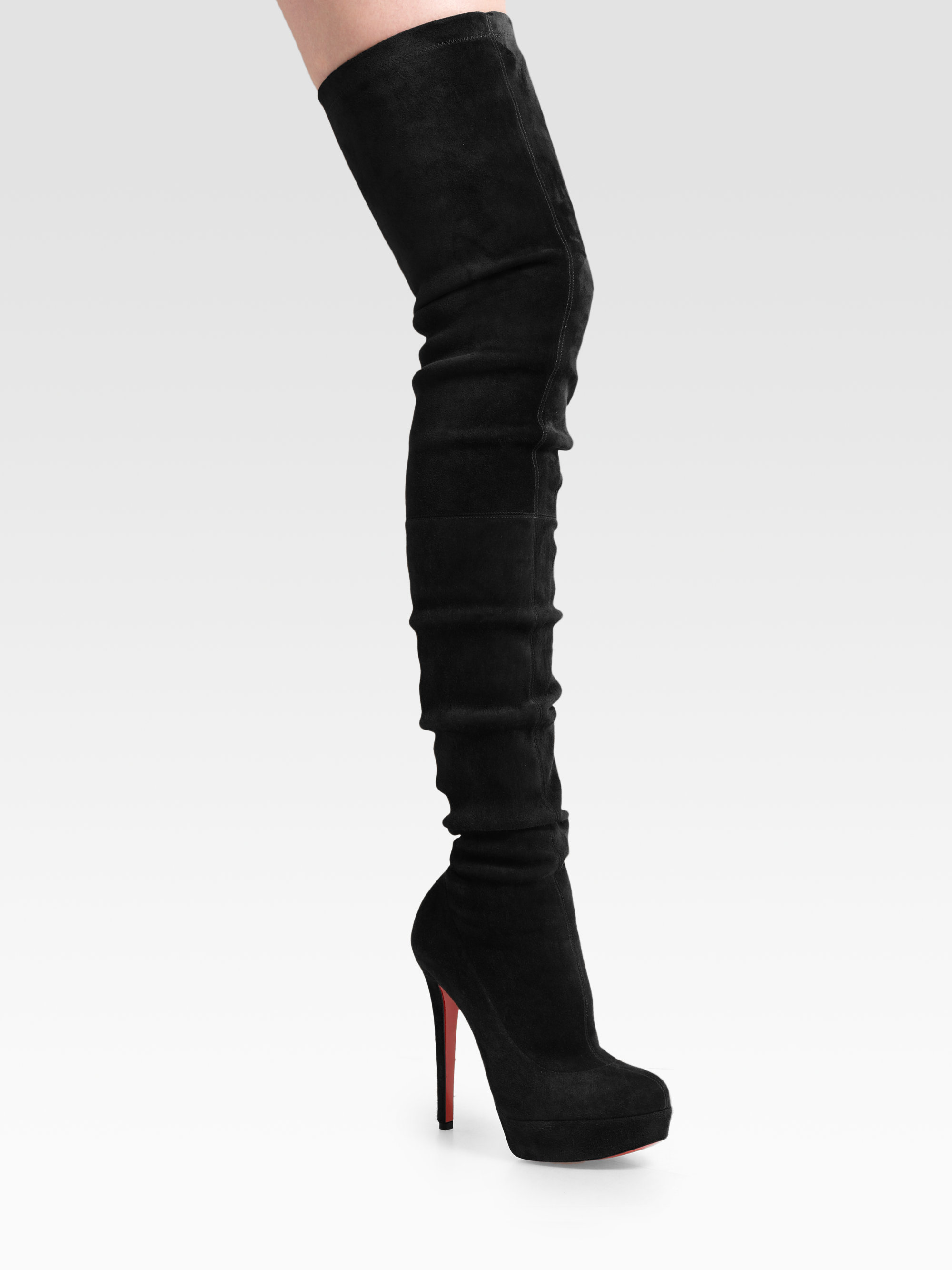 christian louboutin thigh high boots suede