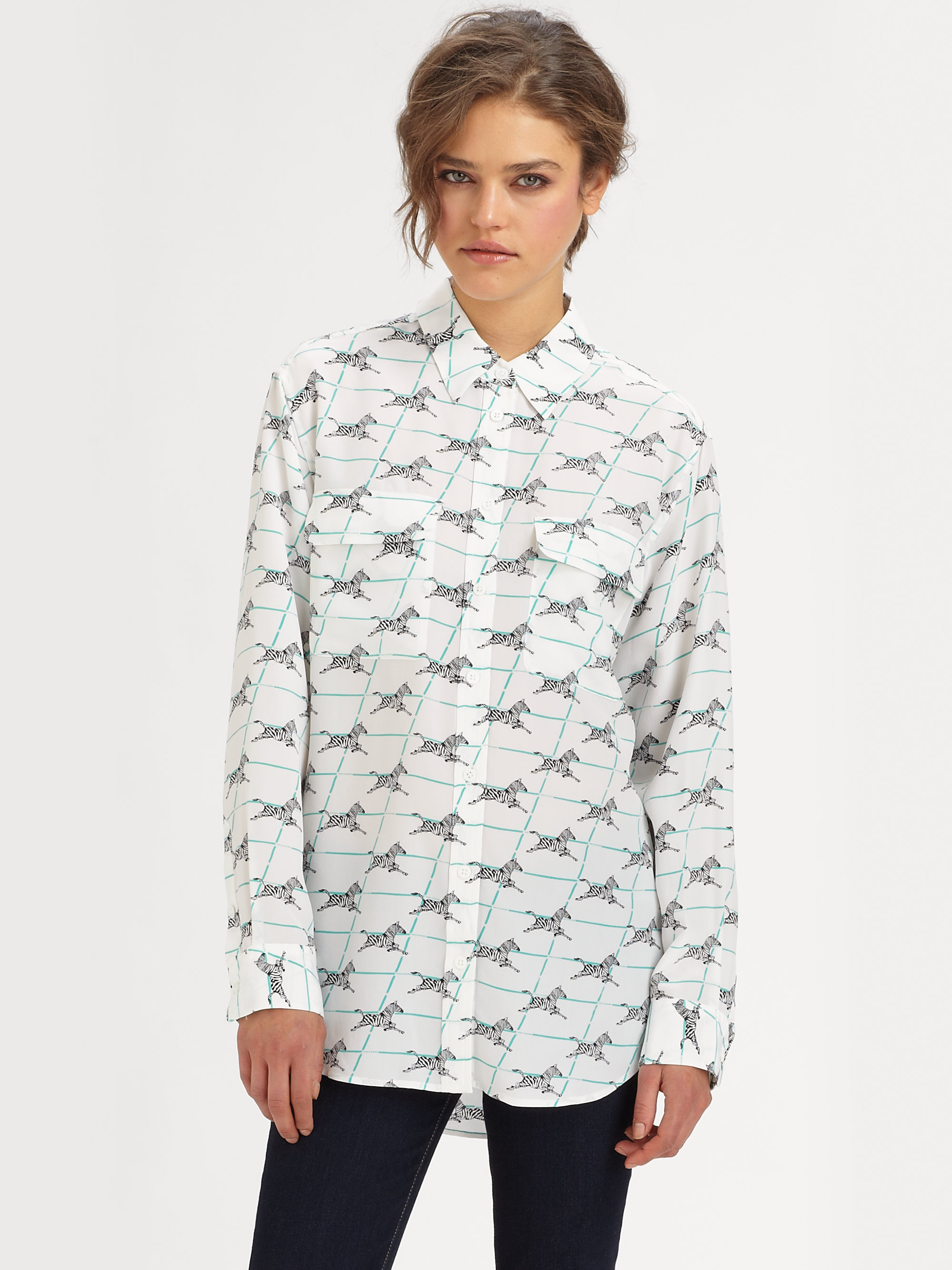 Equipment signature zebra silk shirt in white bright for Equipment black silk shirt
