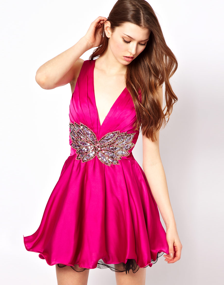 Lyst - Forever Unique Prom Dress with Embellished Waist in Pink