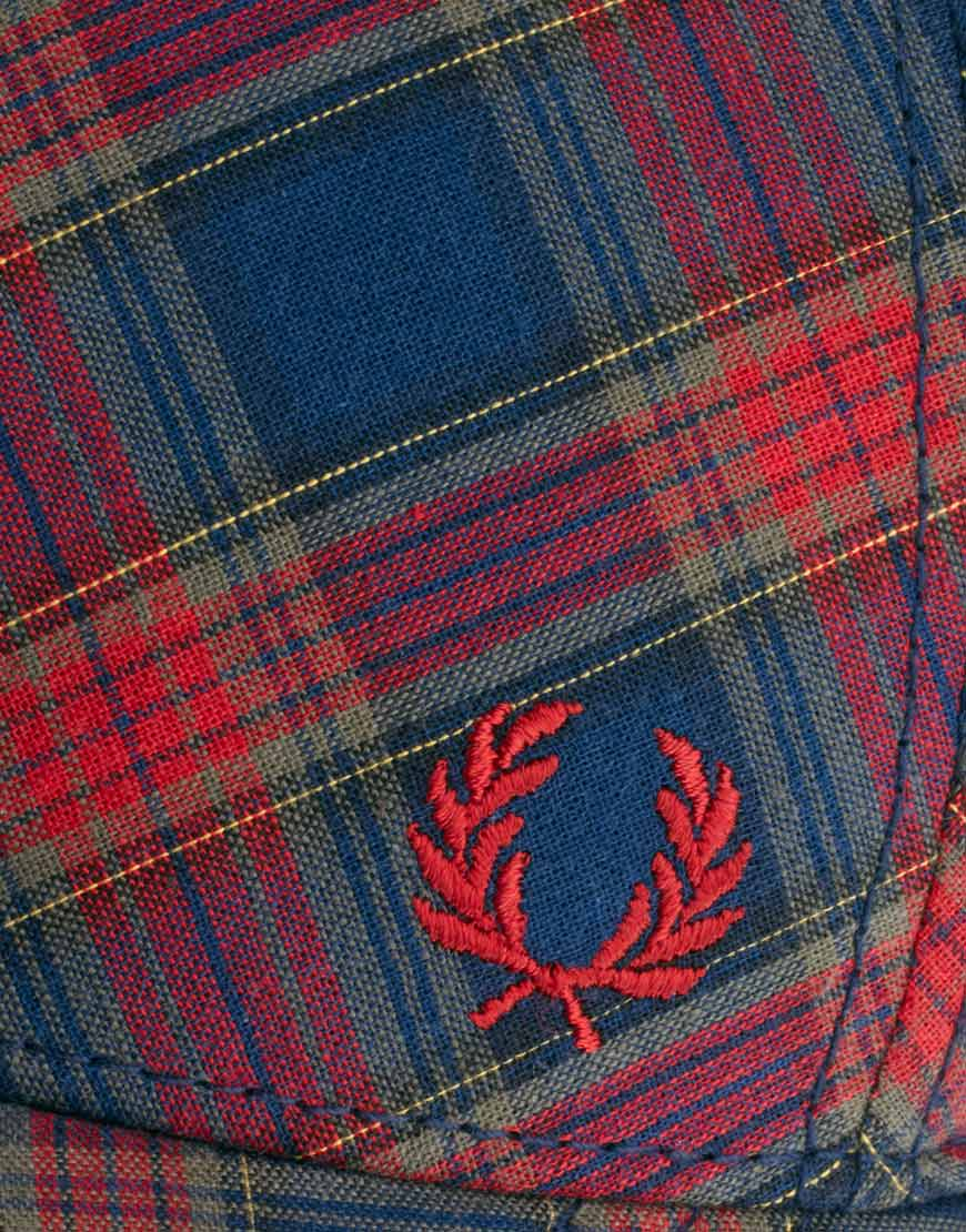Lyst Fred Perry Tartan Cap In Red For Men