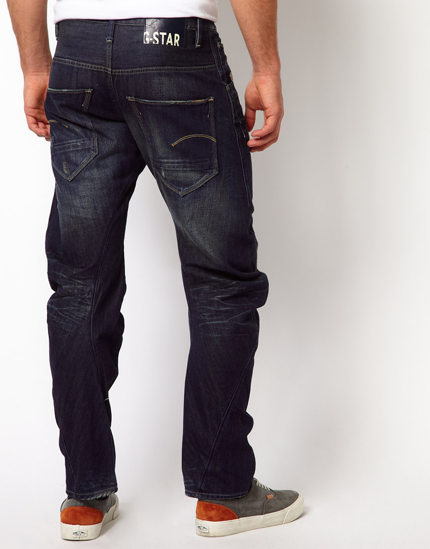 g star raw g star arc tapered fit jeans in dark aged wash in blue for men lyst. Black Bedroom Furniture Sets. Home Design Ideas