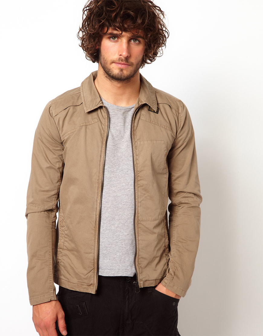 G-star raw Overshirt Jacket Blan Zip Front in Brown for Men | Lyst