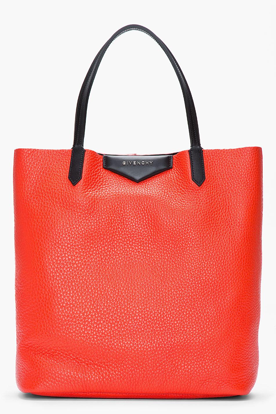 Lyst - Givenchy Poppy Red Pebbled Leather Vertical Antigona Shopper ... f06f7118441c
