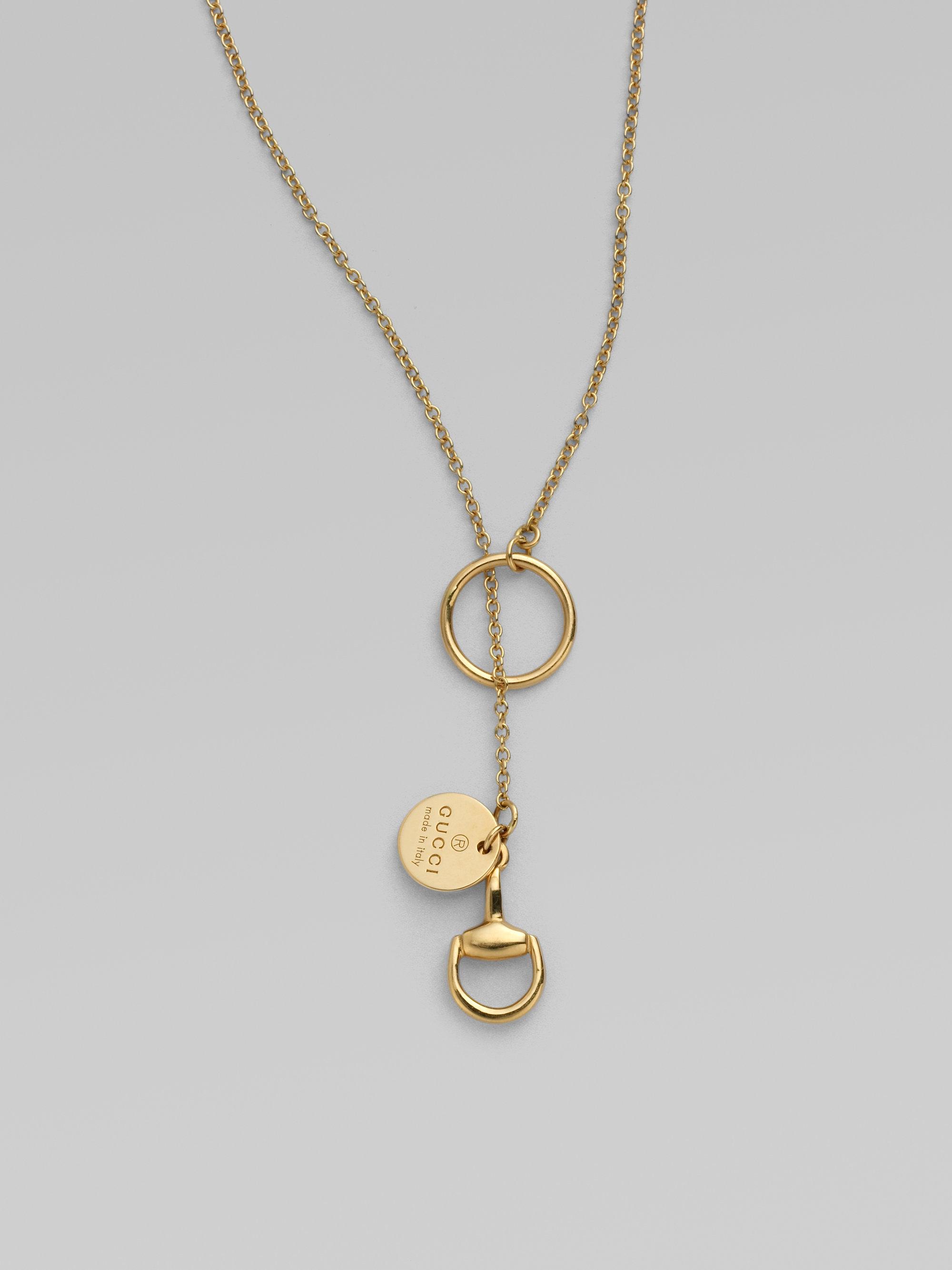 4baeded96 Gucci 18k Gold Horsebit Lariat Necklace in Metallic - Lyst