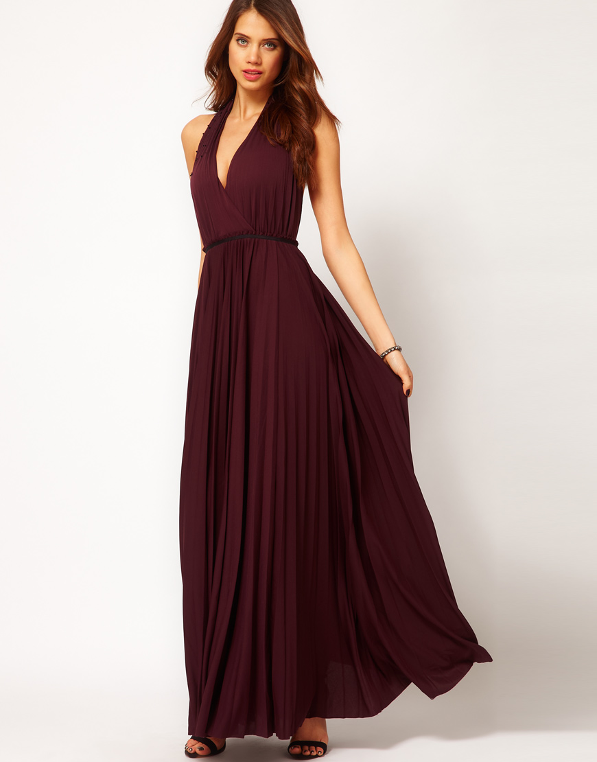 Lyst - Halston Long Pleated Gown with Neck Design in Purple