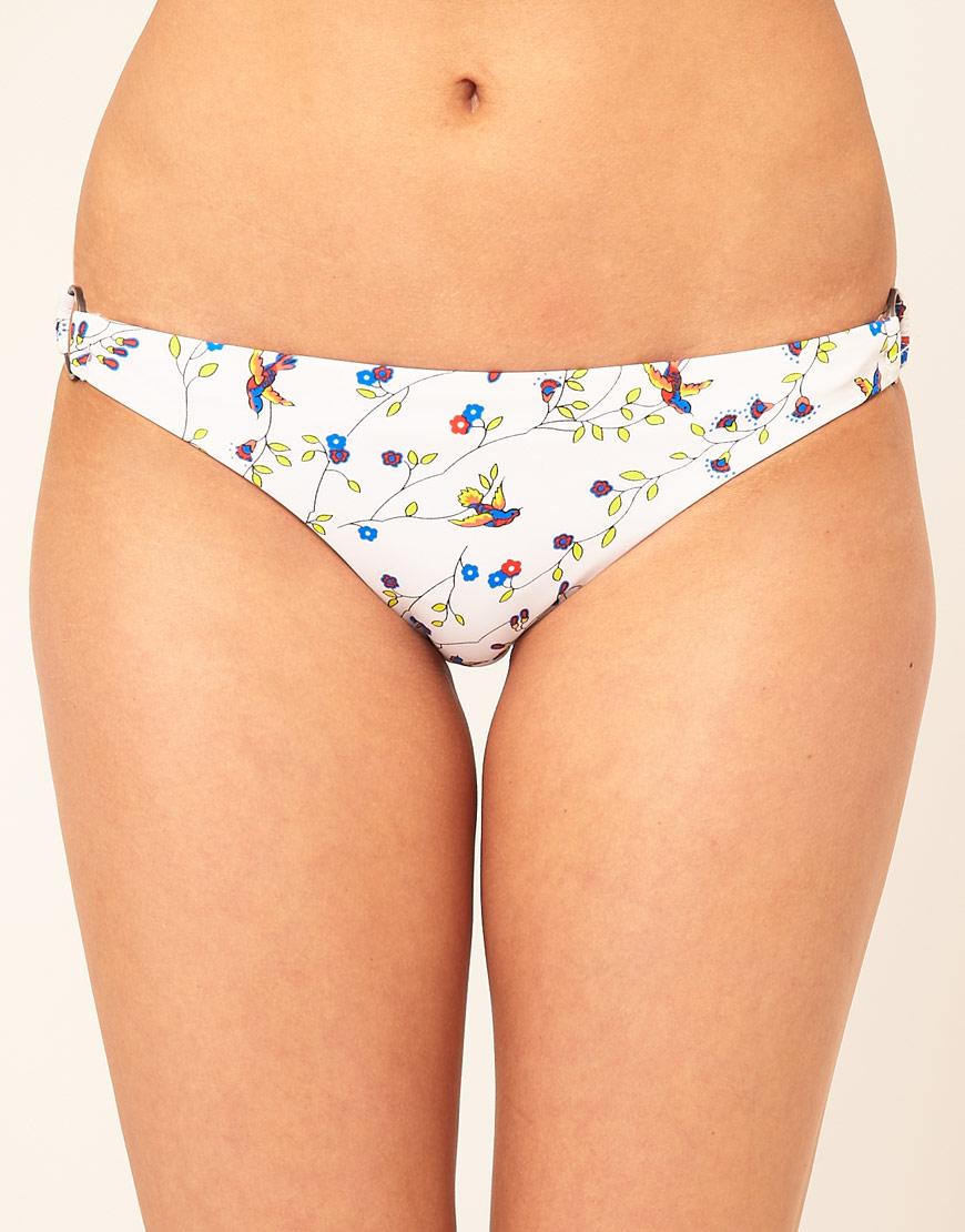 6af380ed8b685 Lyst - Hurley Bird Print Ring Hipster Bikini Bottom in White