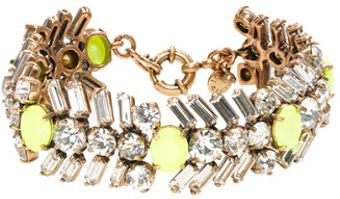 J.Crew Crystal and Neon Chevron Bracelet - Lyst