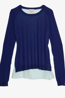 Mason by Michelle Mason Silk Georgette Panel Back Sweater - Lyst