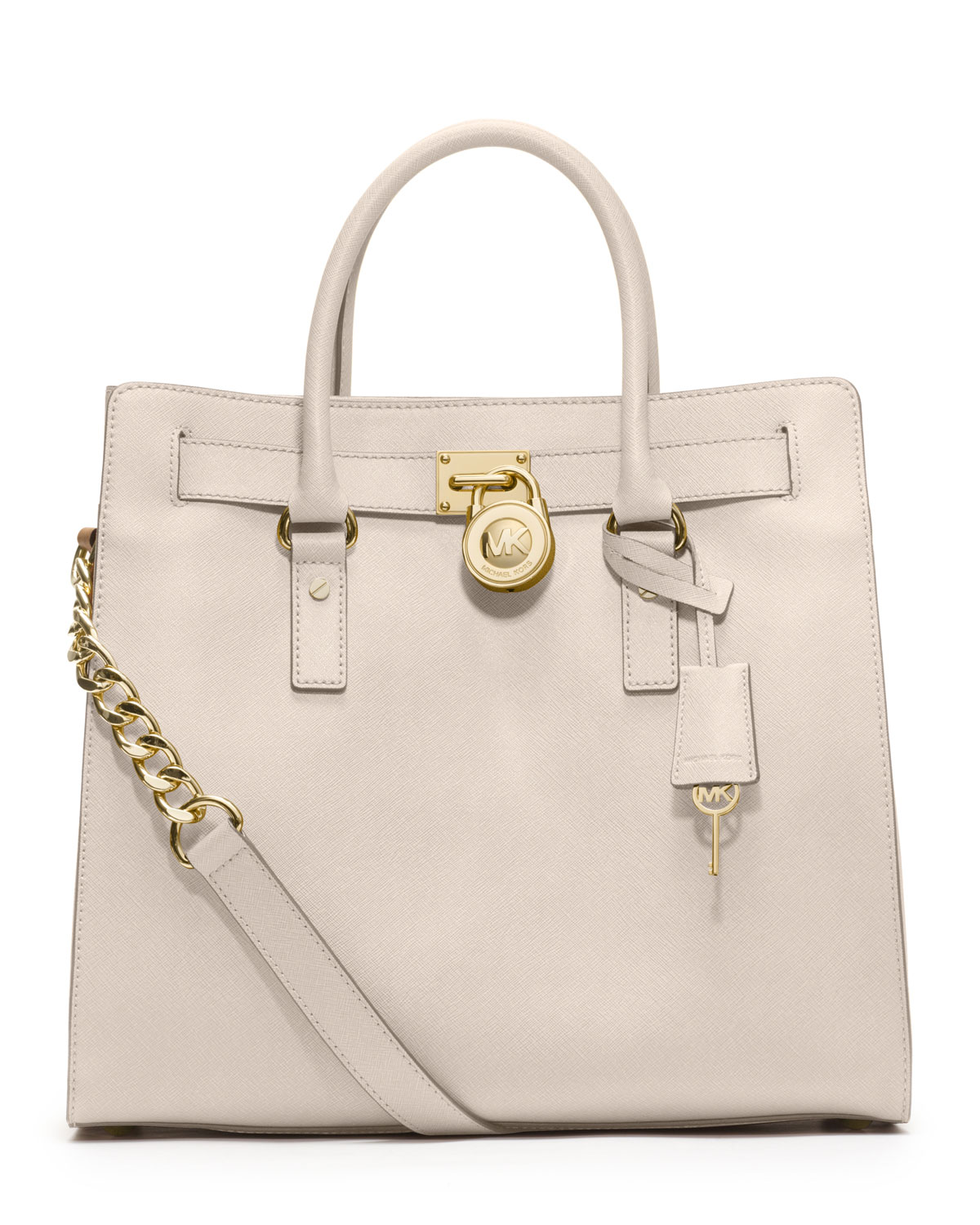 michael michael kors large hamilton saffiano tote in white vanilla. Black Bedroom Furniture Sets. Home Design Ideas