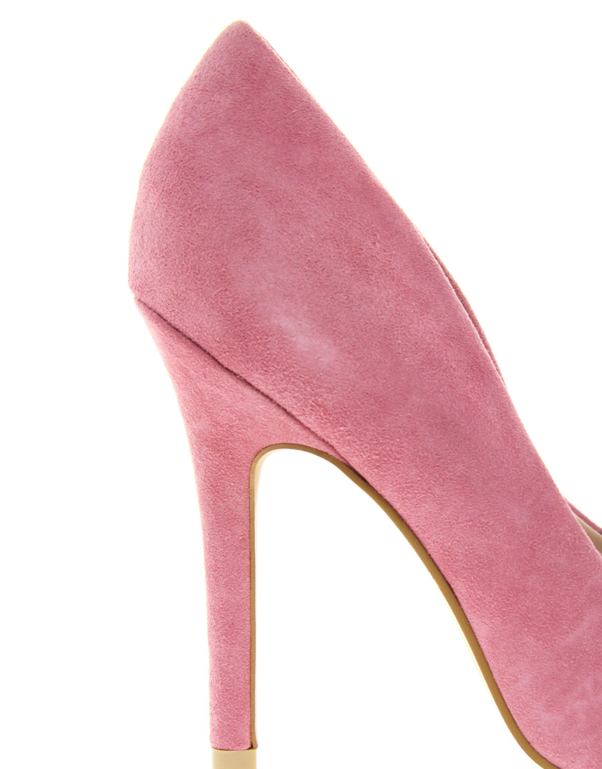 f05cbda42e0 Lyst - Miss Kg Coco Suede Peep Toe Shoes in Pink