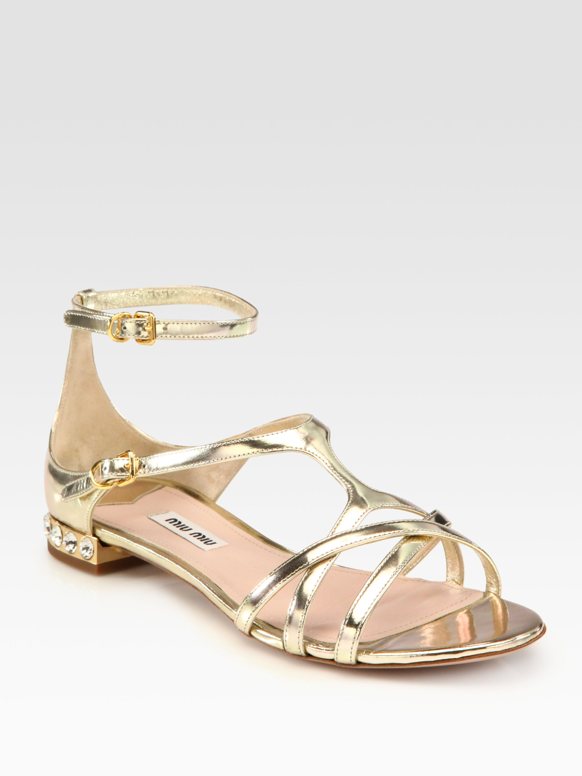 Miu Miu Metallic Jewel-Embellished Flats footlocker cheap professional clearance websites free shipping countdown package ykGC5aPh