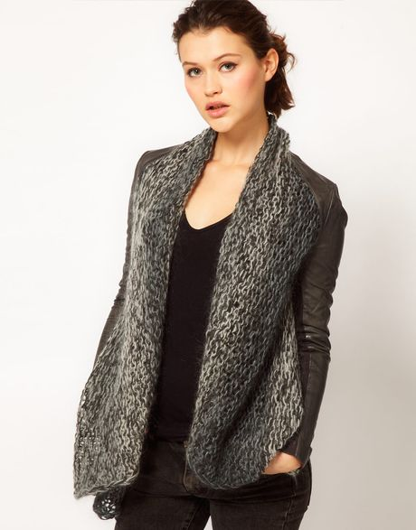 Knitting Pattern For Waterfall Jacket : Muubaa Leather Galatti Knitted Waterfall Jacket in Gray (granitegrey) Lyst