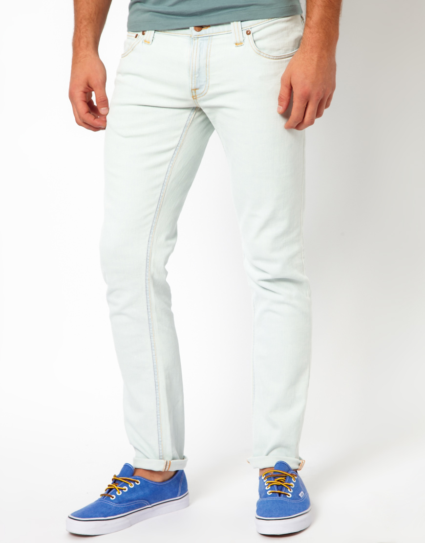 nudie jeans tight long john skinny fit in white for men lyst. Black Bedroom Furniture Sets. Home Design Ideas