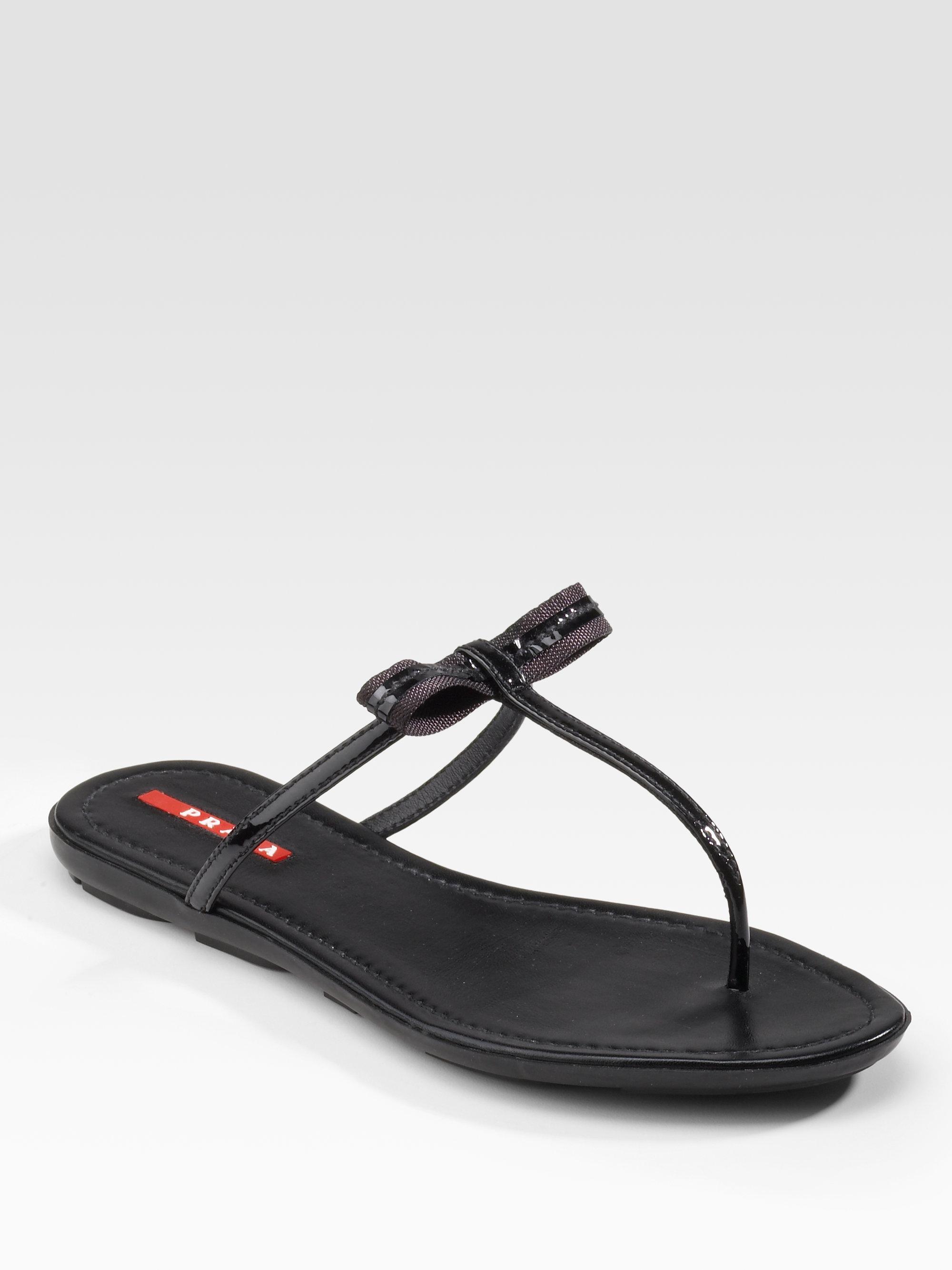 2e1e70f053b7b9 Lyst - Prada Patent Leather Flat Thong Sandals in Black
