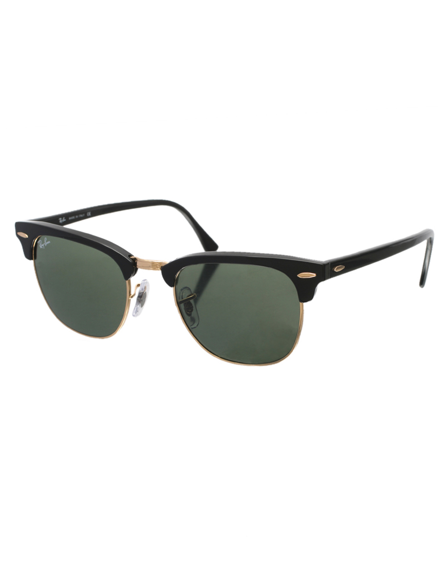ray ban clubmaster sunglasses 0rb3016 w0365 49 in black. Black Bedroom Furniture Sets. Home Design Ideas