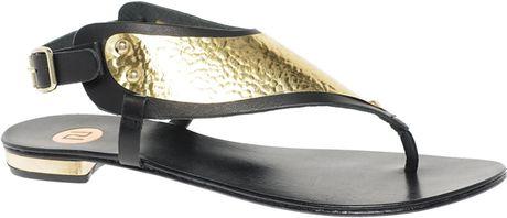 de5e6c4cca5905 River Island Metal Plate Thong Sandals in Black for Men