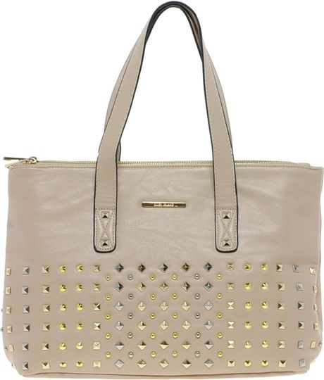 River Island Stud Front Bag in Gray (nude)