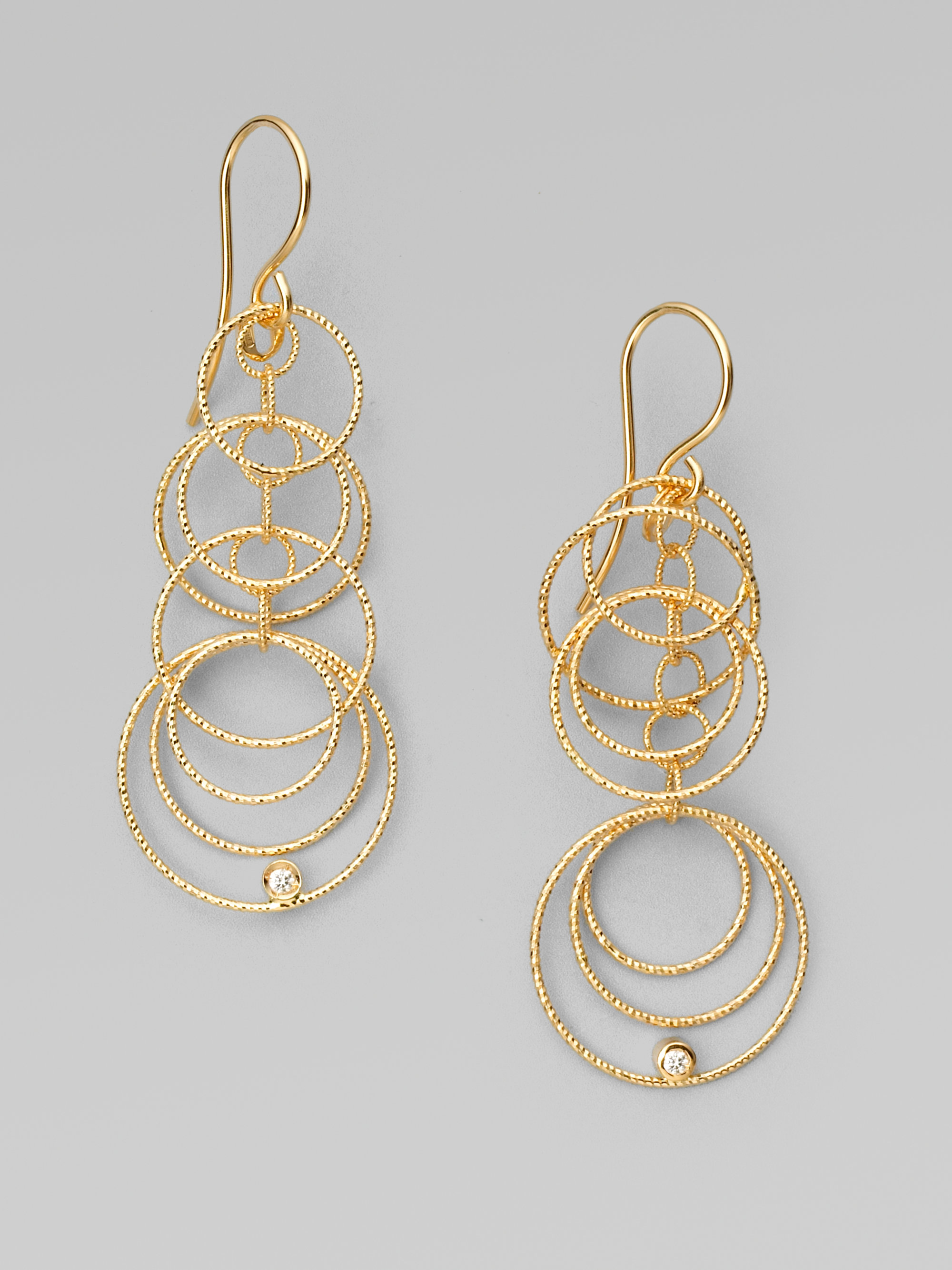 ct drop gold d circle circular twt certified infinity diamond in tri color earrings