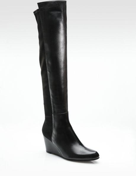 stuart weitzman stretch wedge boots in black lyst