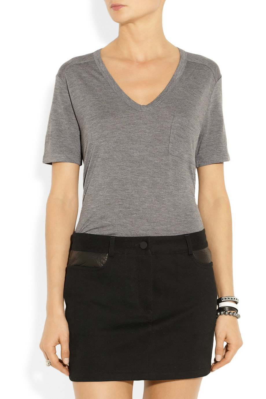 T by alexander wang classic jersey t shirt in gray lyst for T by alexander wang t shirt