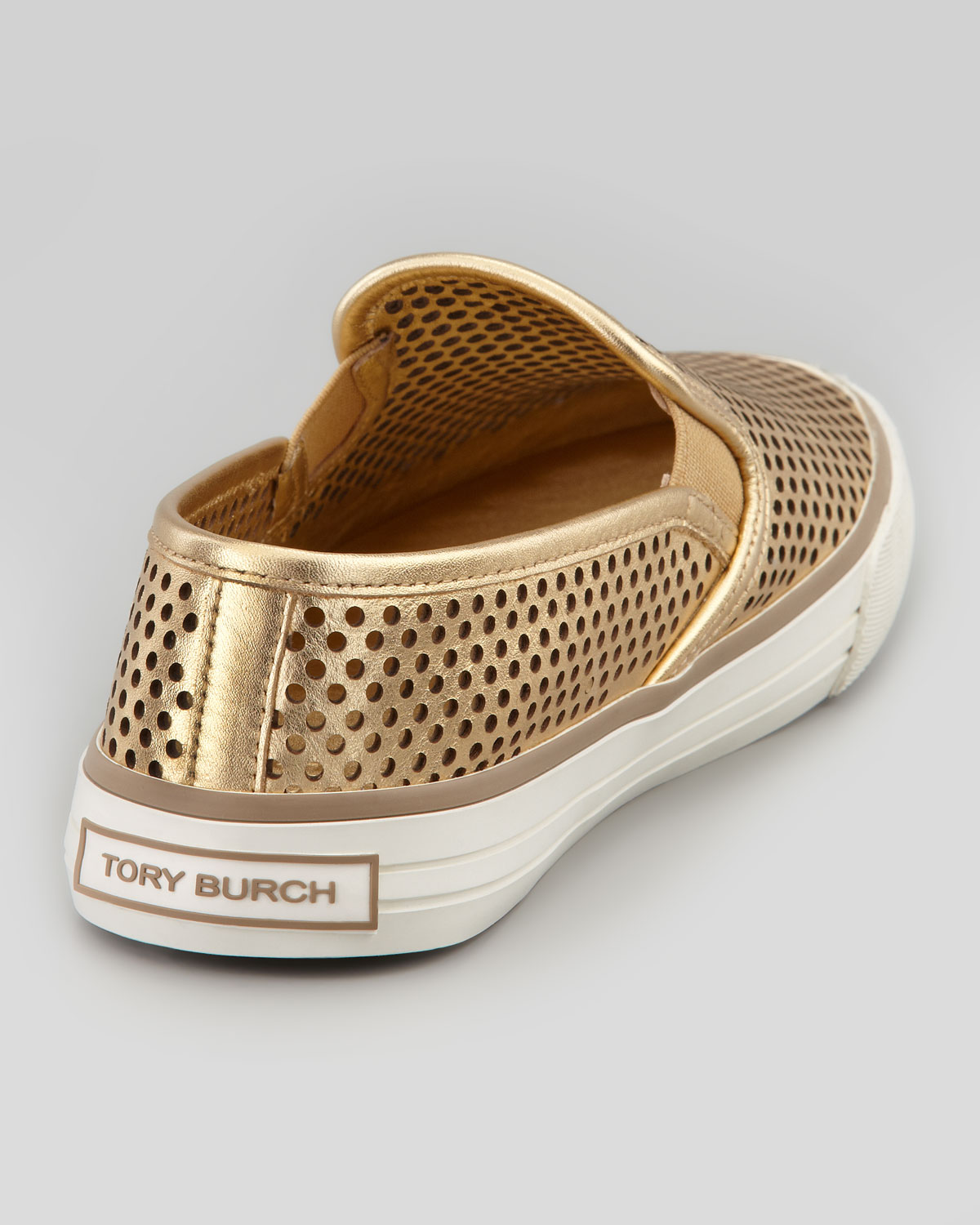 289553f00ff005 Lyst - Tory Burch Miles Perforated Slip-on Sneaker Gold in Metallic