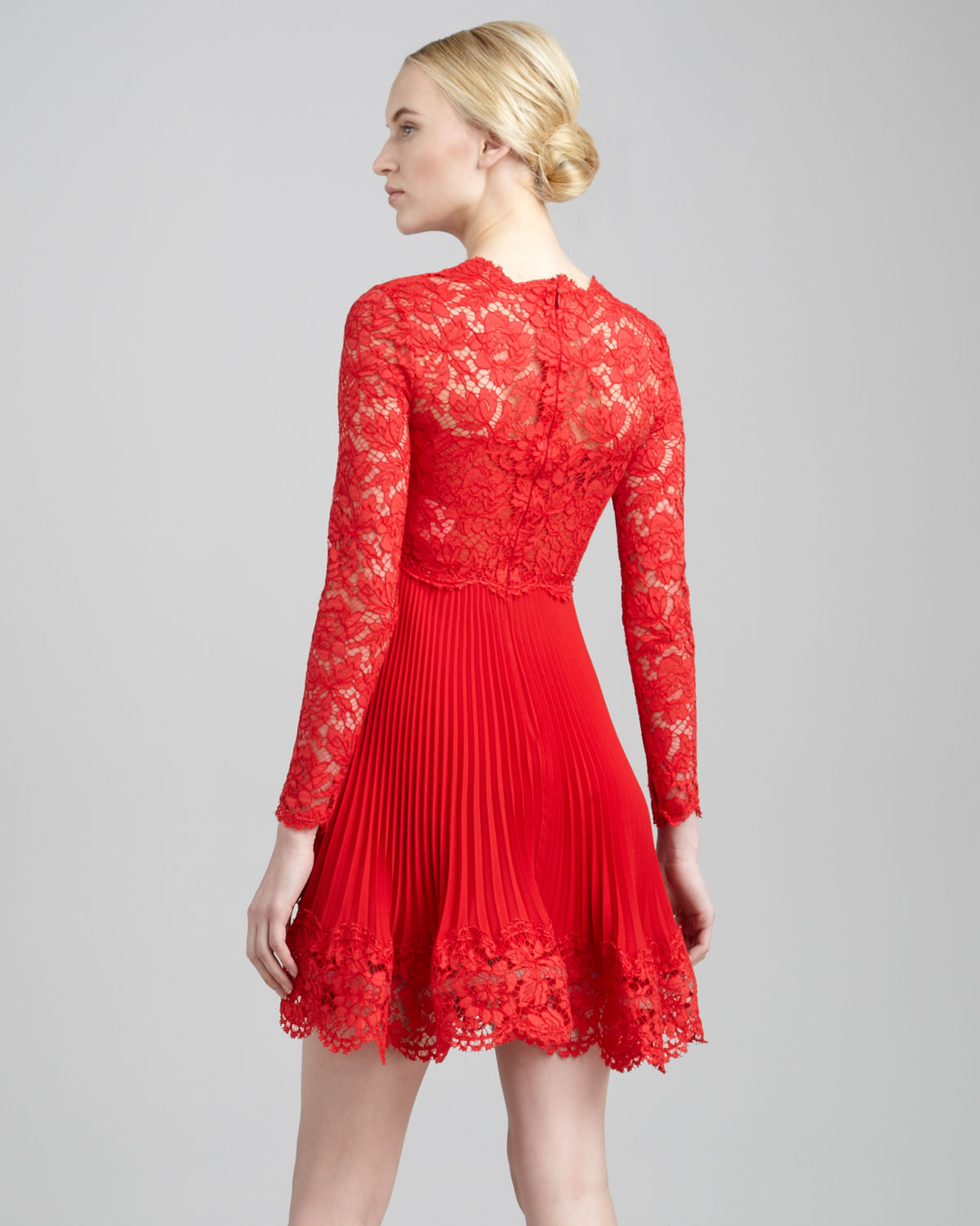 Lyst Valentino Long Sleeve Lace Plisse Dress In Red