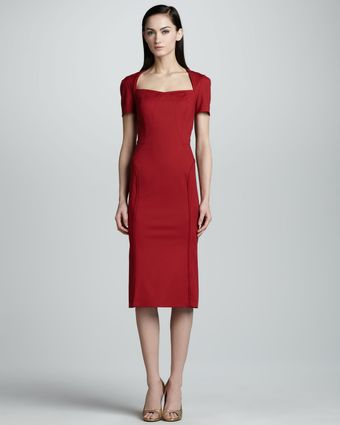 Zac Posen Shortsleeve Twill Dress - Lyst