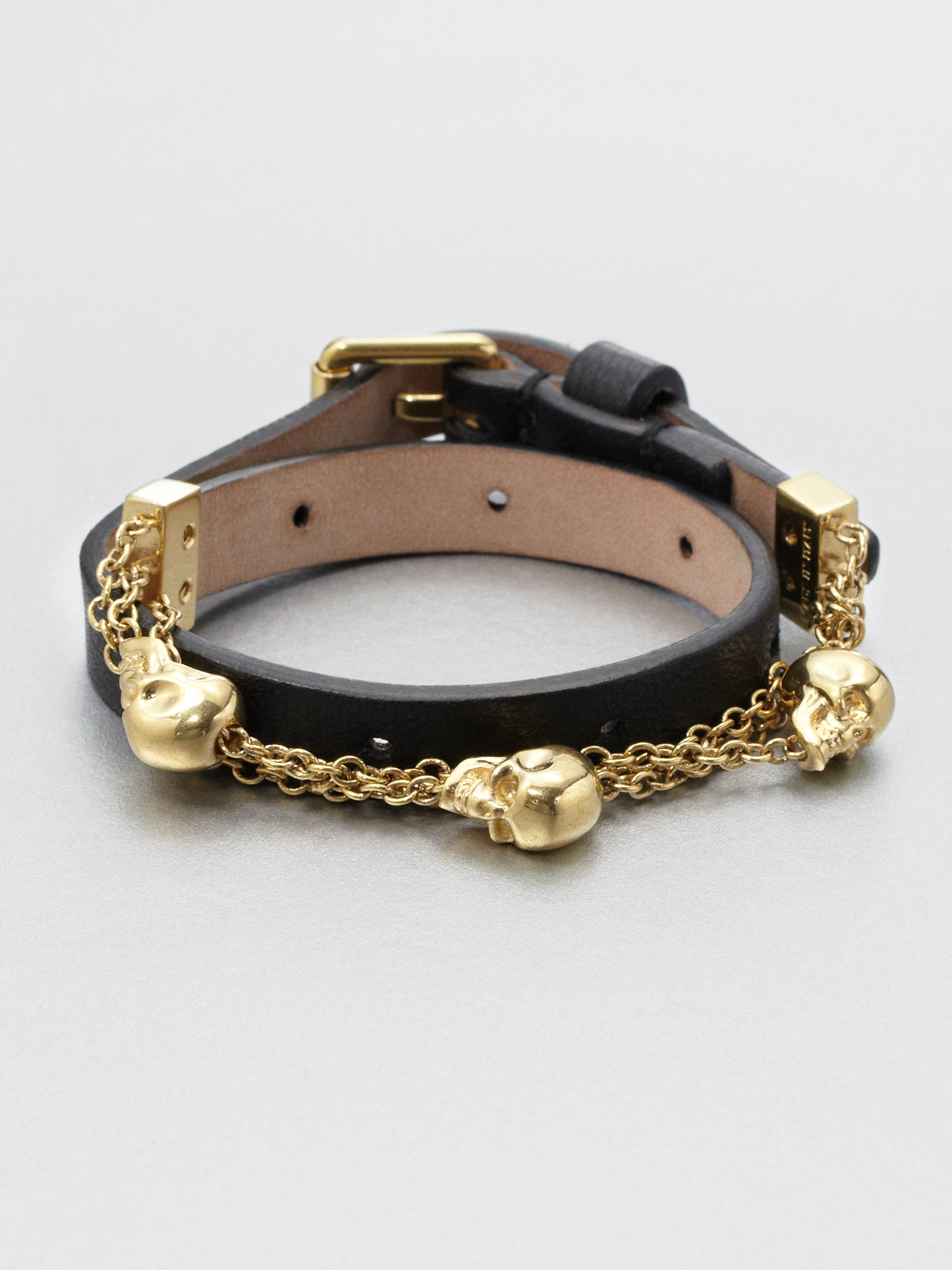 Alexander Wang Double Wrap Leather and Chain Bracelet ArgiW