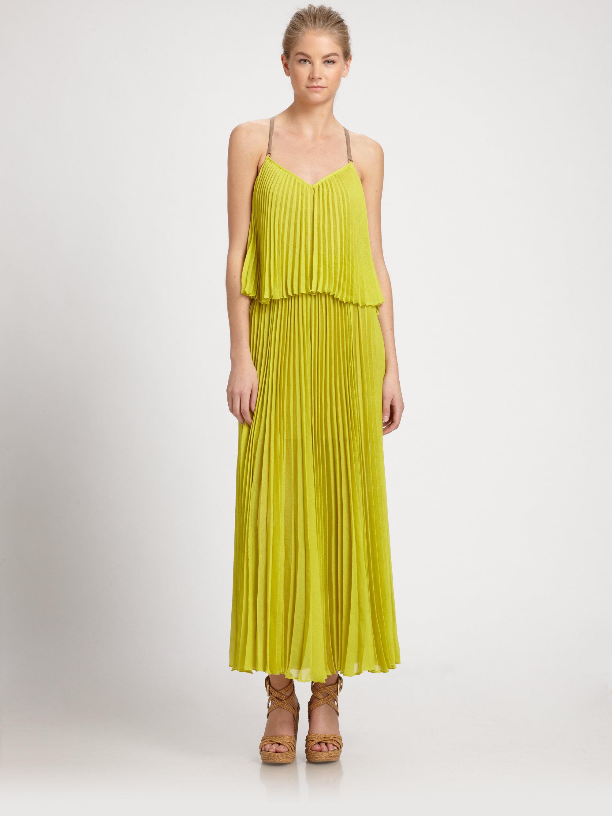e24e4f31bc3 Lyst Bcbgmaxazria Accordion Pleat Maxi Dress In Yellow