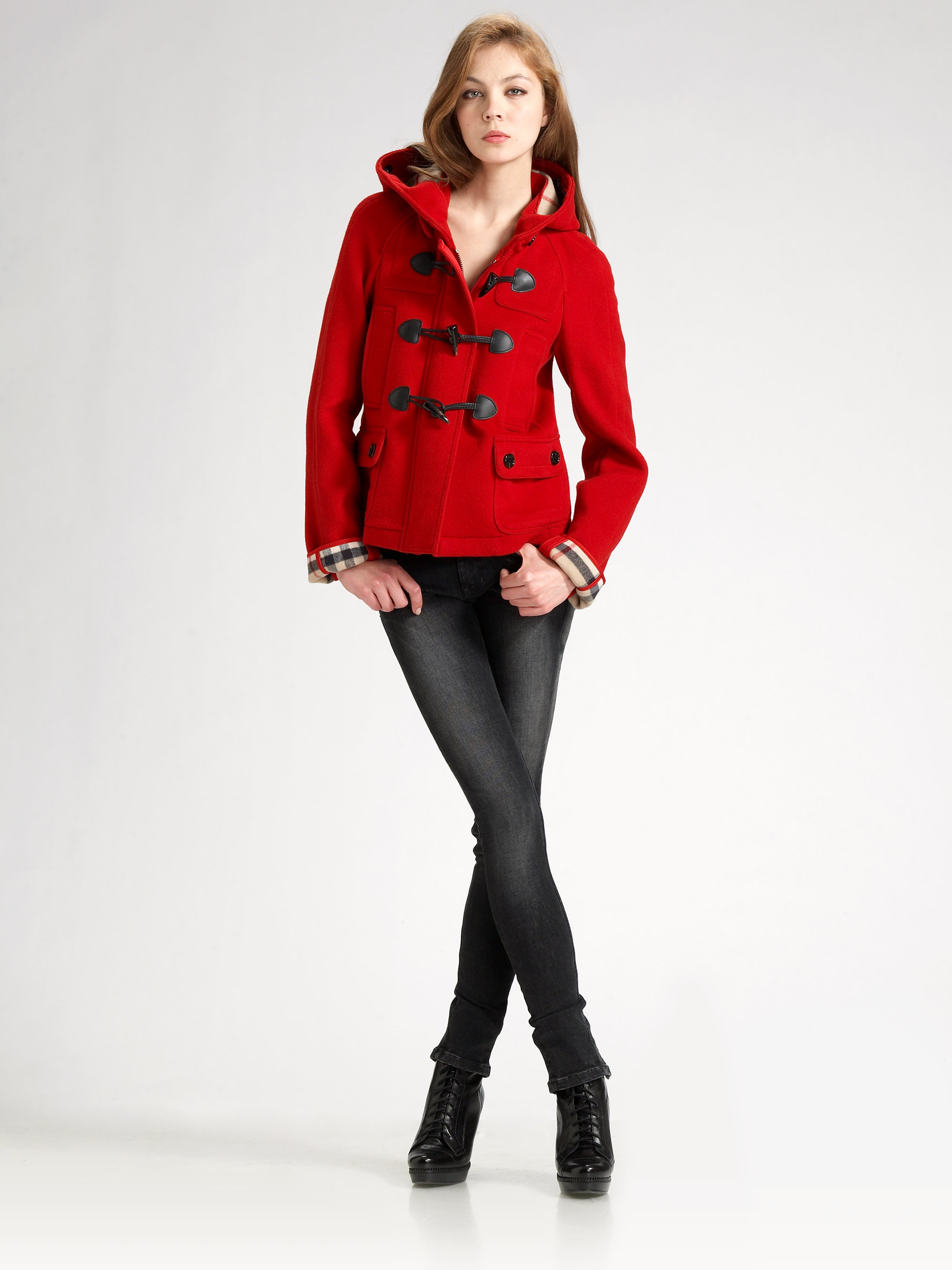 Burberry brit Wool Duffle Jacket in Red | Lyst