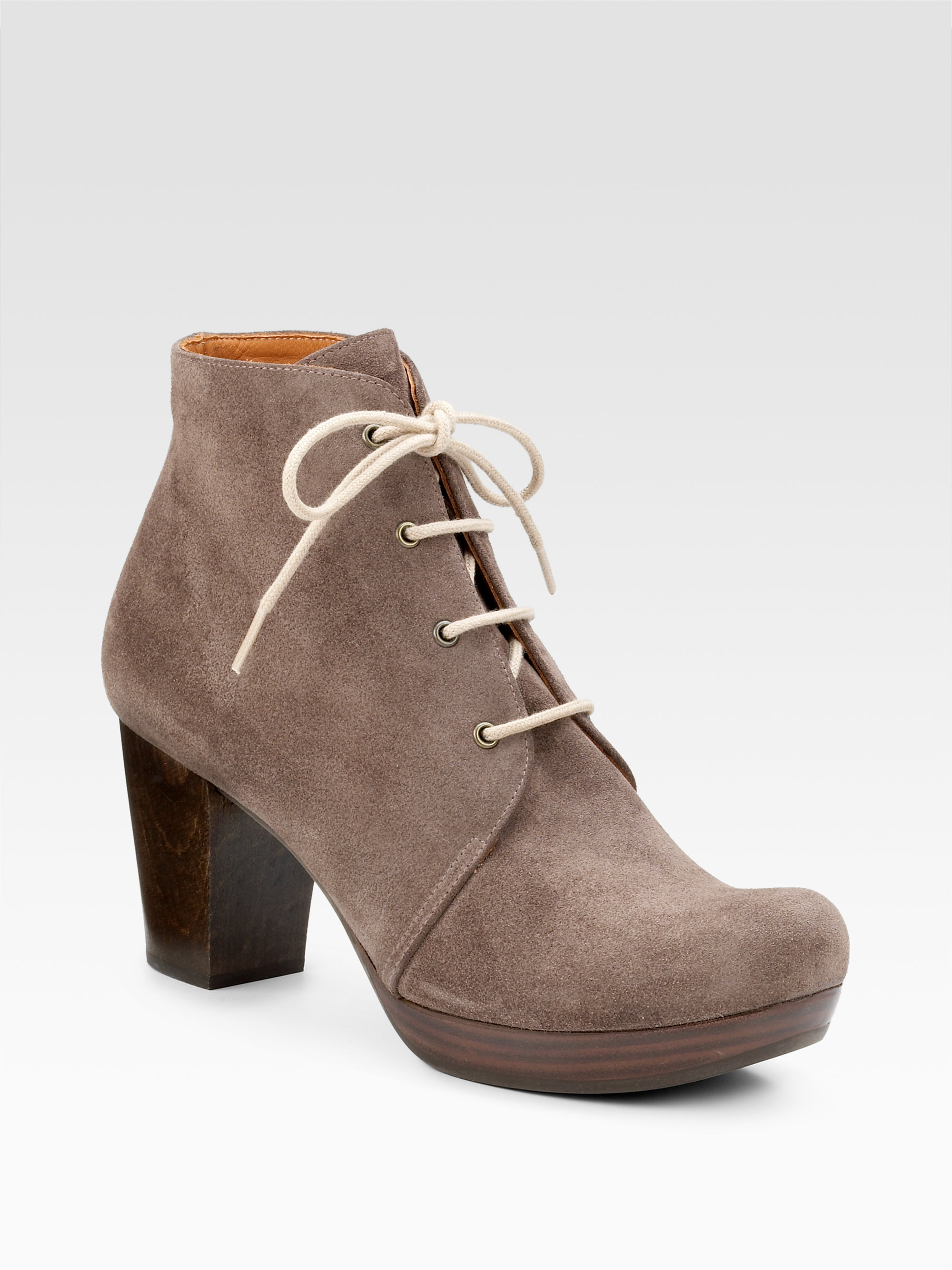 chie mihara laceup suede ankle boots in brown lyst