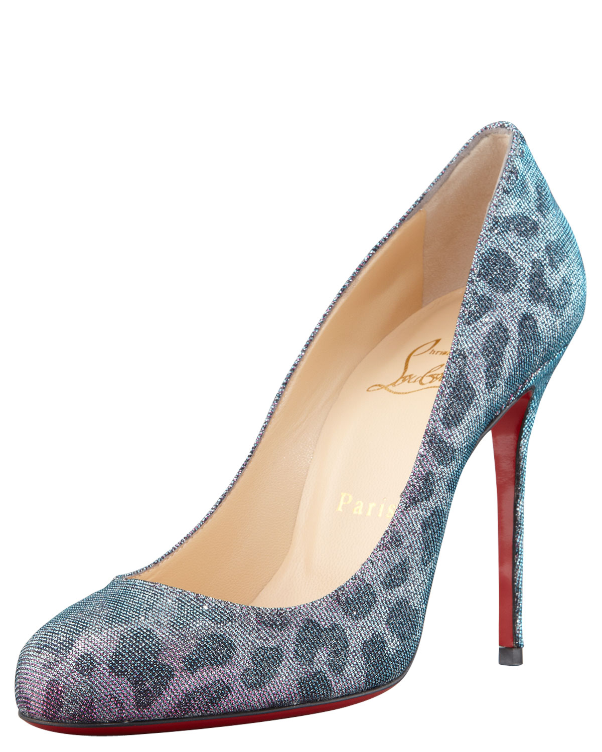 b2acb7ad3e09 Lyst - Christian Louboutin Fifi Metallic Leopard Red Sole Pumps in Blue