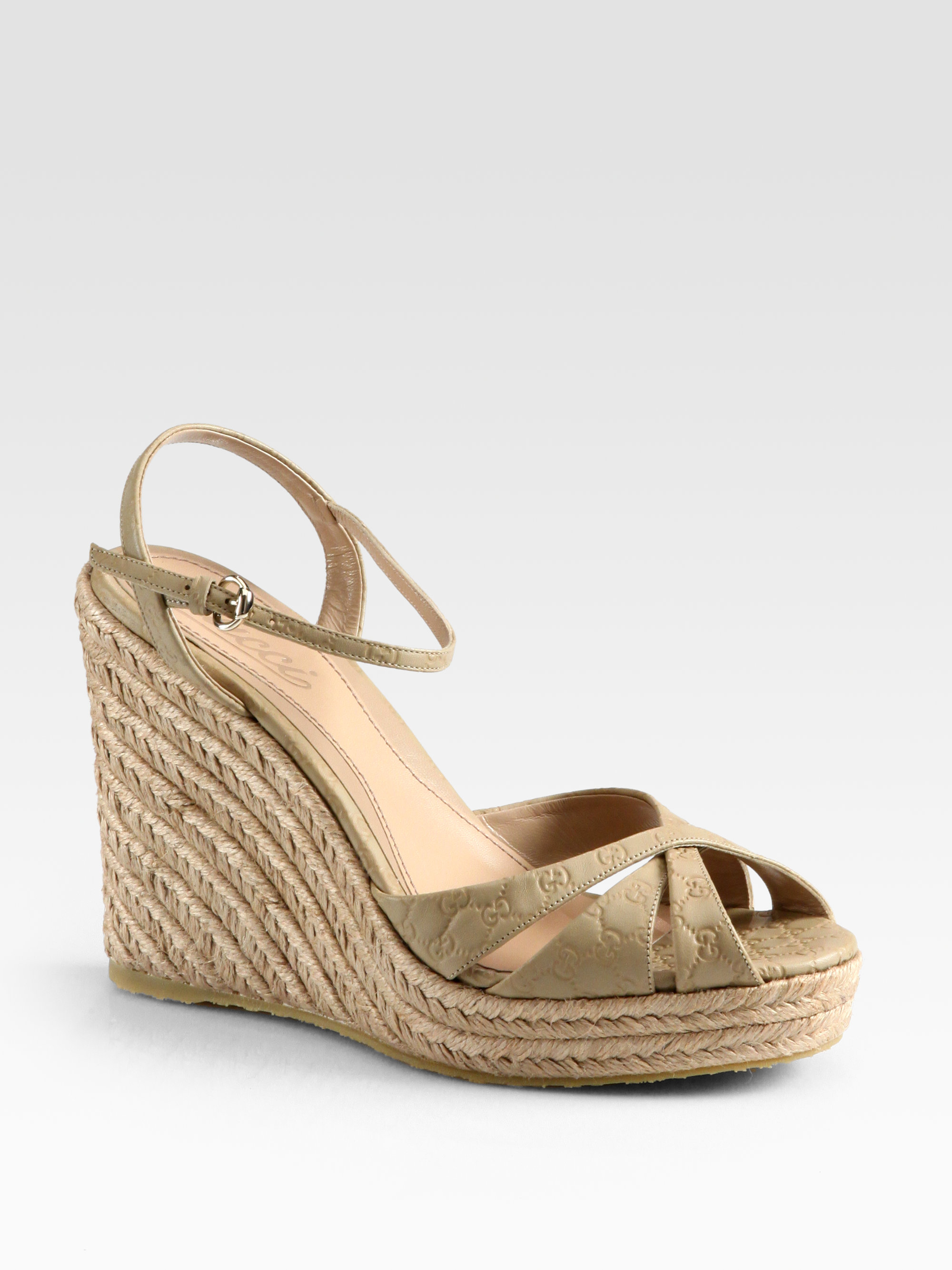 75c4f492858be7 Lyst - Gucci Penelope Gg Leather Espadrille Wedges in Natural
