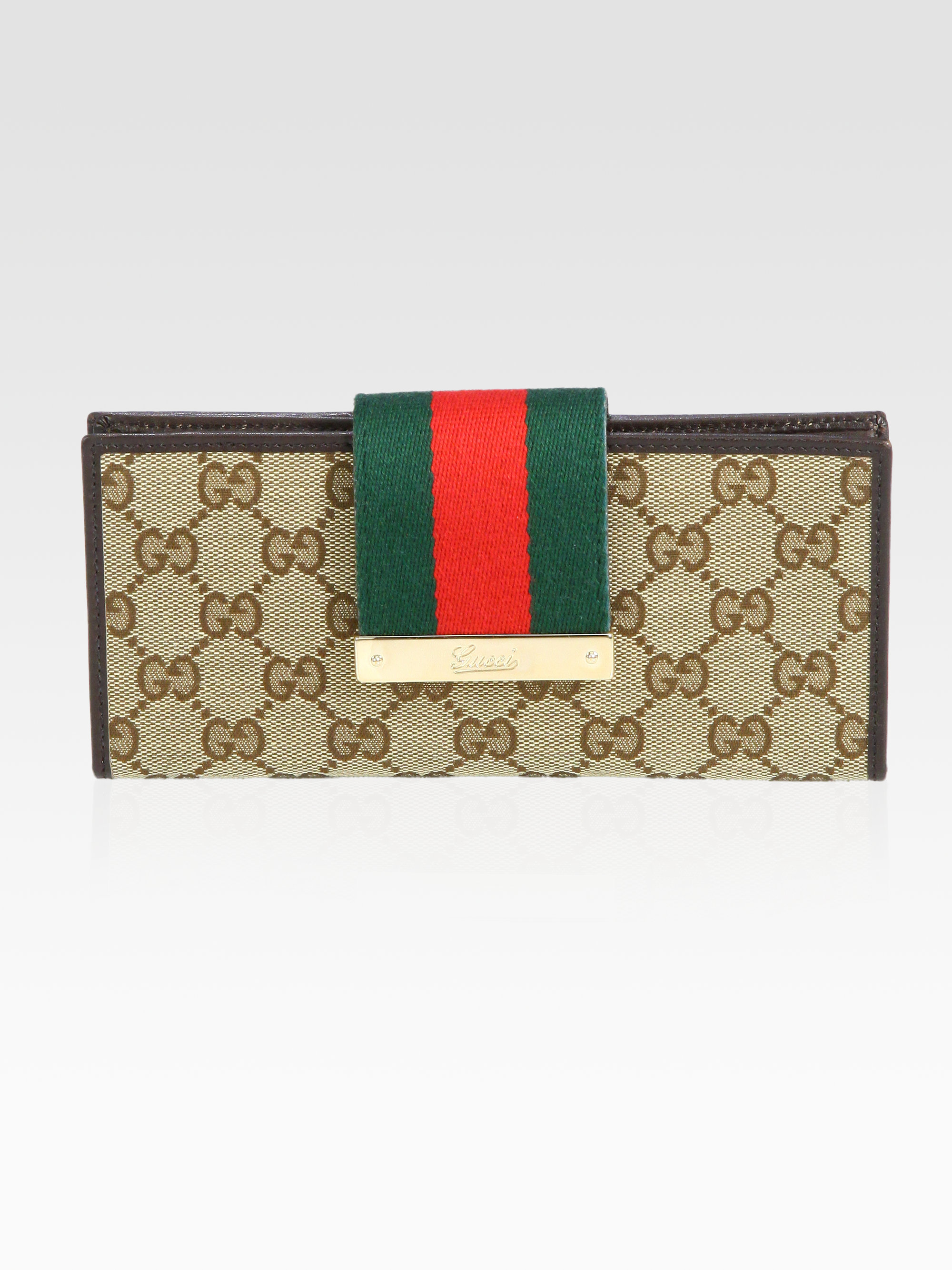 0324b4f31d5 Gucci Ladies Web Gg Canvas Continental Wallet in Brown - Lyst