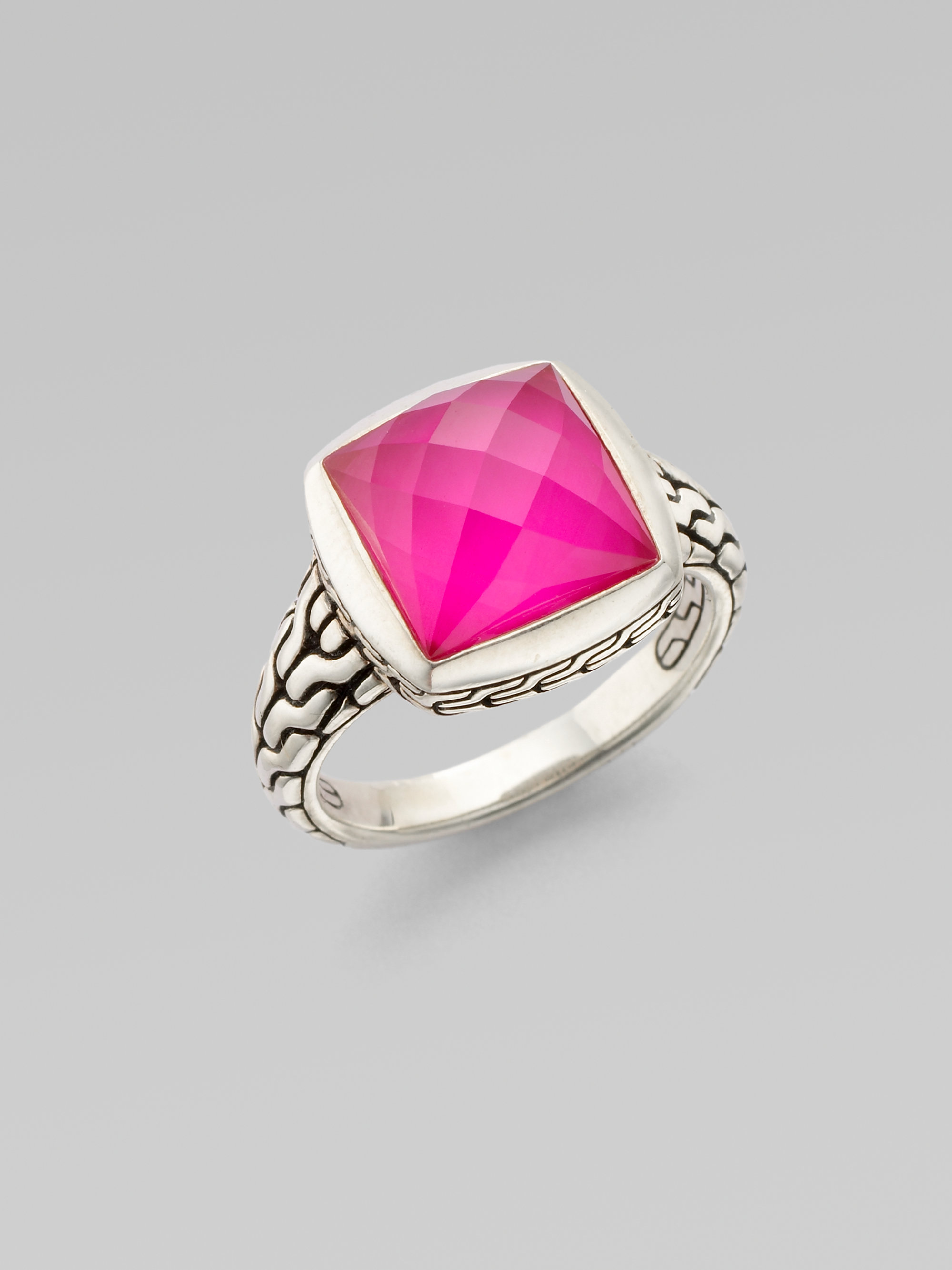 John Hardy Pink Corundum White Quartz Sterling Silver Ring
