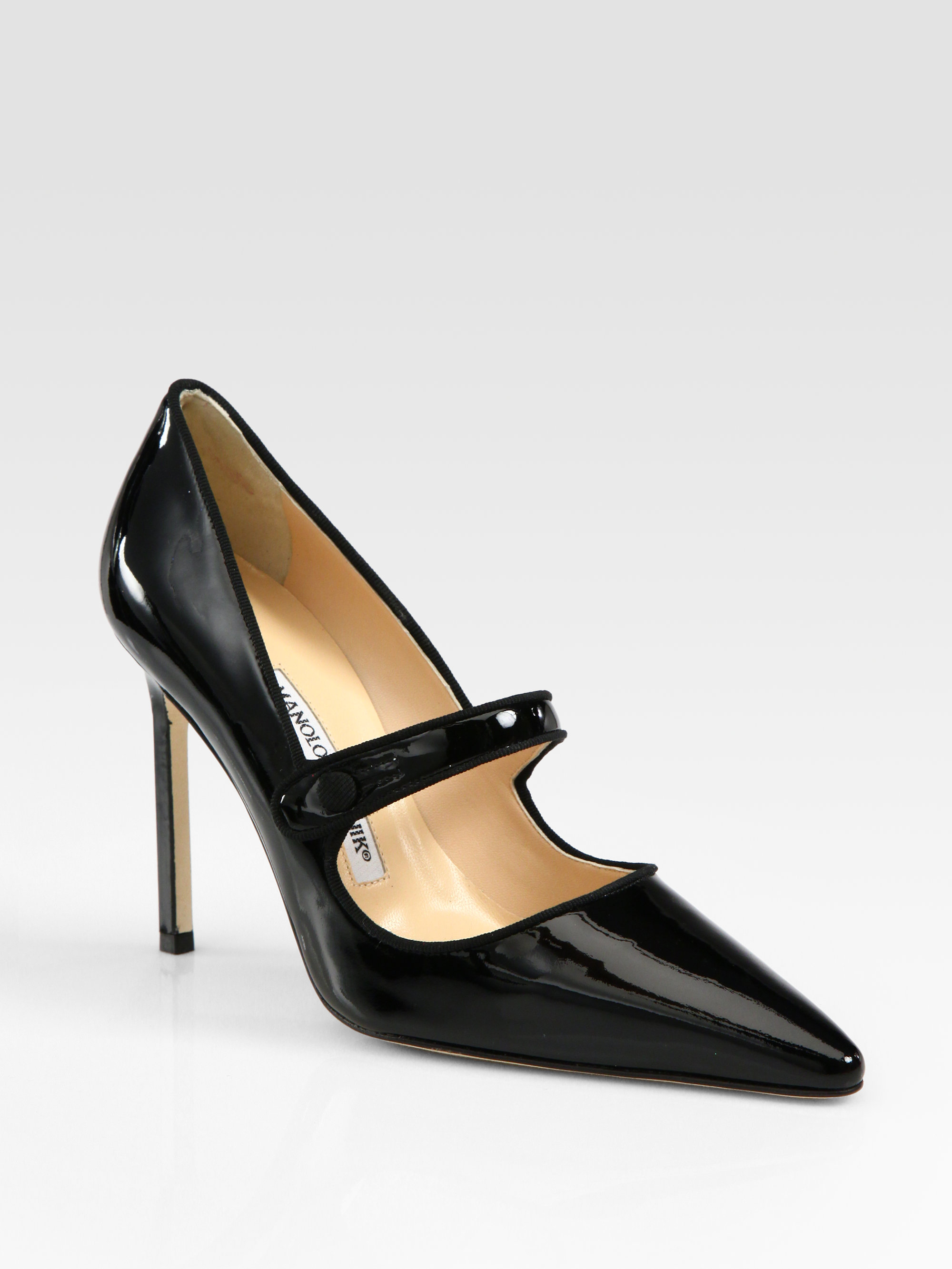 Lyst - Manolo Blahnik Campari Patent Leather Mary Jane Pumps in Black 3174a24877bb