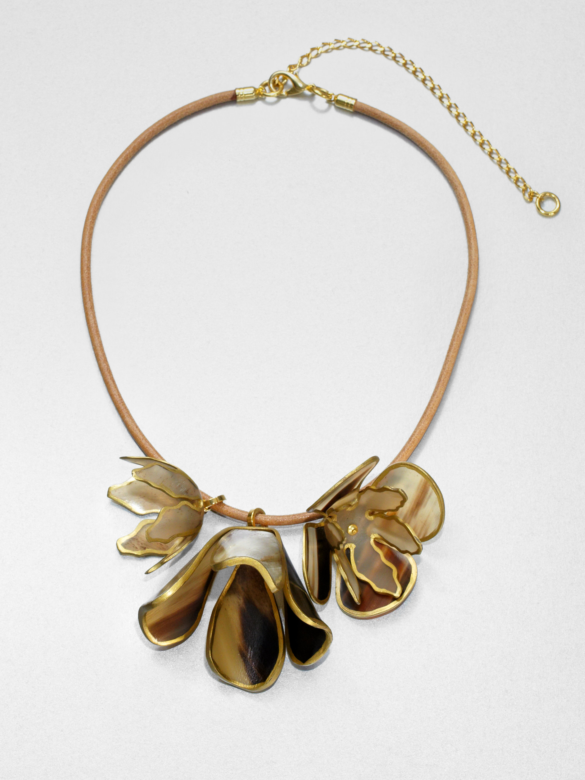 Marni Horn Floral Pendant Necklace In Gold Old Gold Lyst