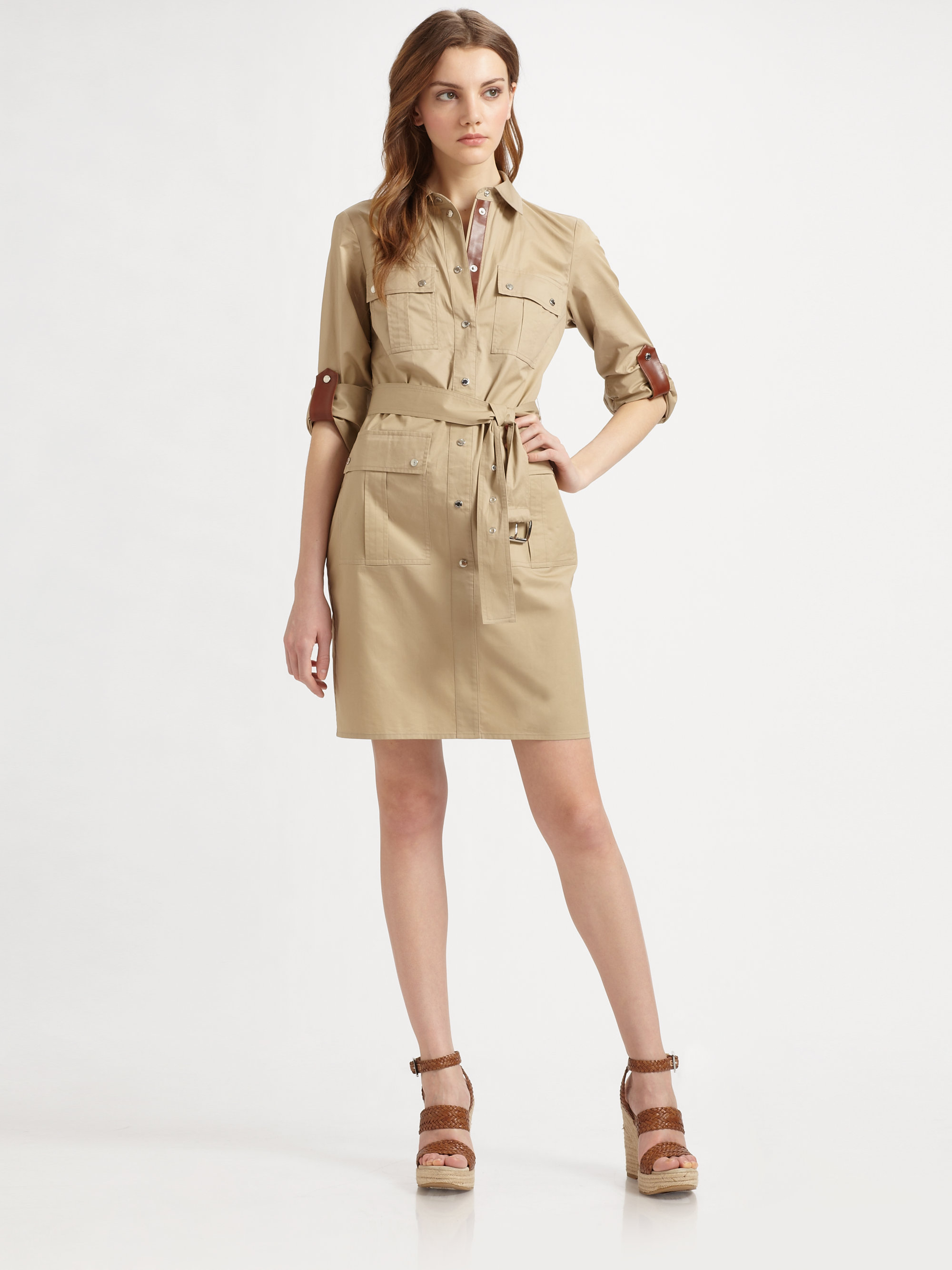 f8df9cce156 MICHAEL Michael Kors Safari Shirt Dress in Natural - Lyst