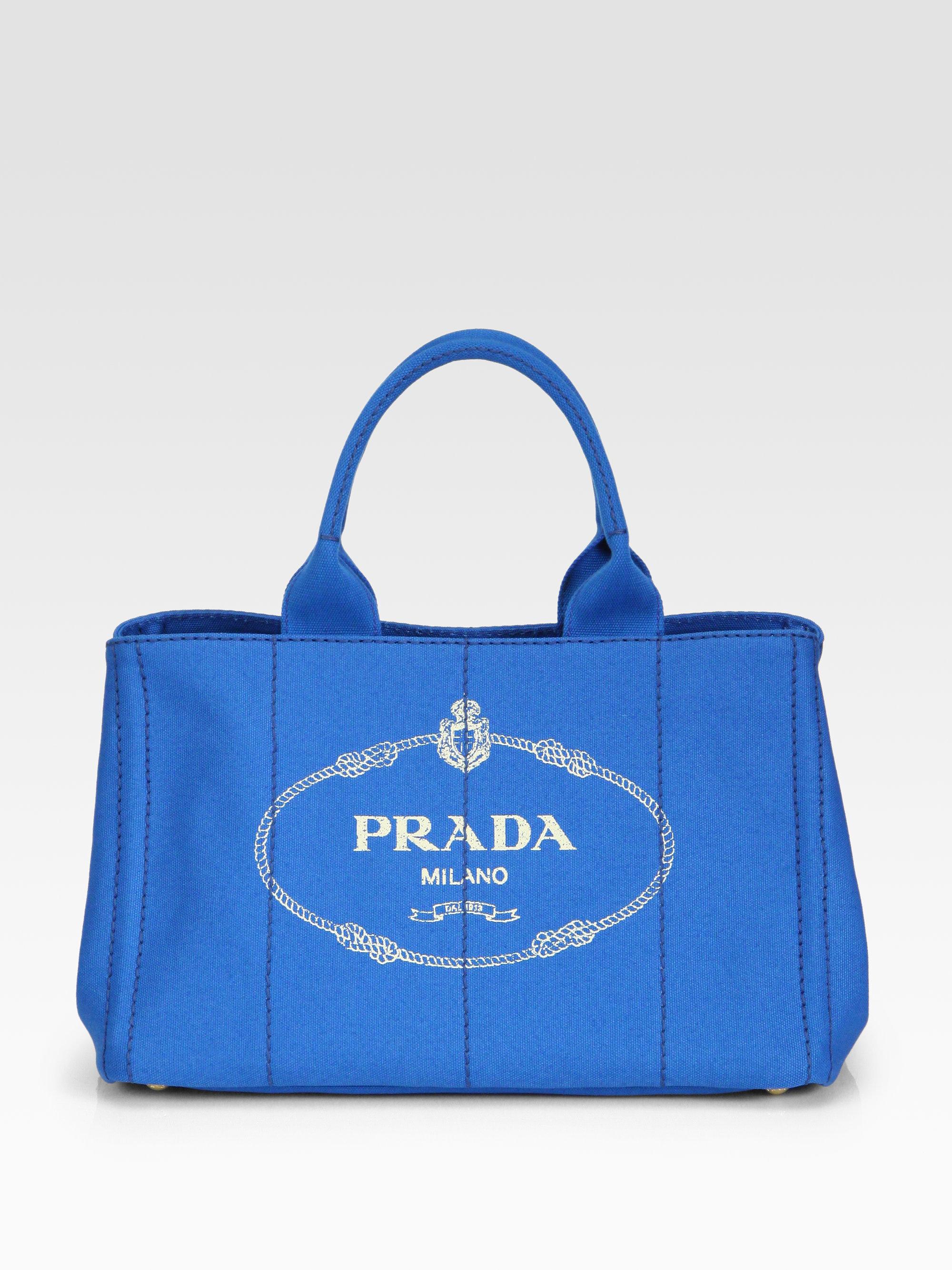prada wallet blue - Prada Canvas Logo Print Tote in Blue (azzurro-blue) | Lyst
