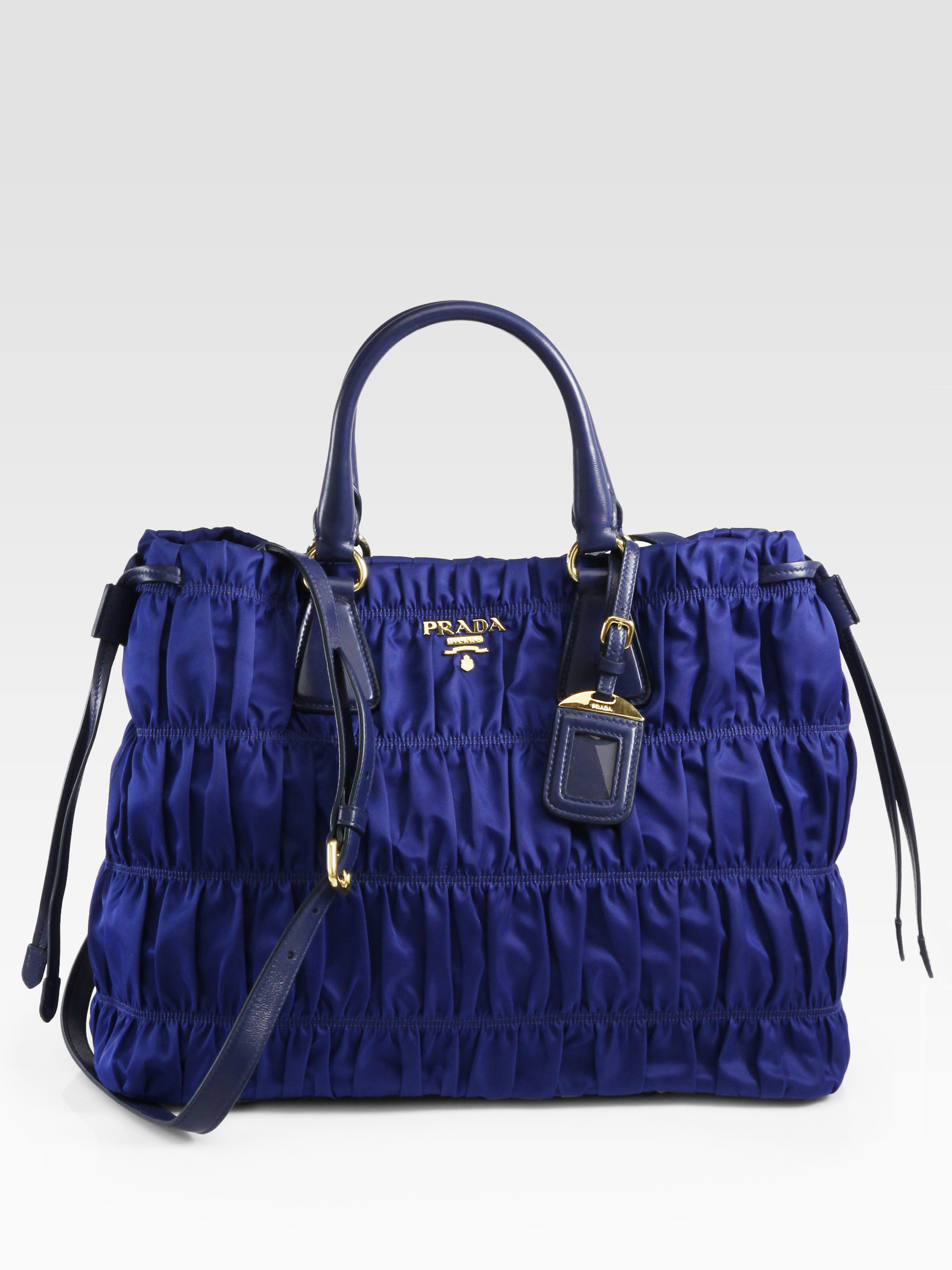 Lyst Prada Tessuto Gaufre Tote Bag In Blue