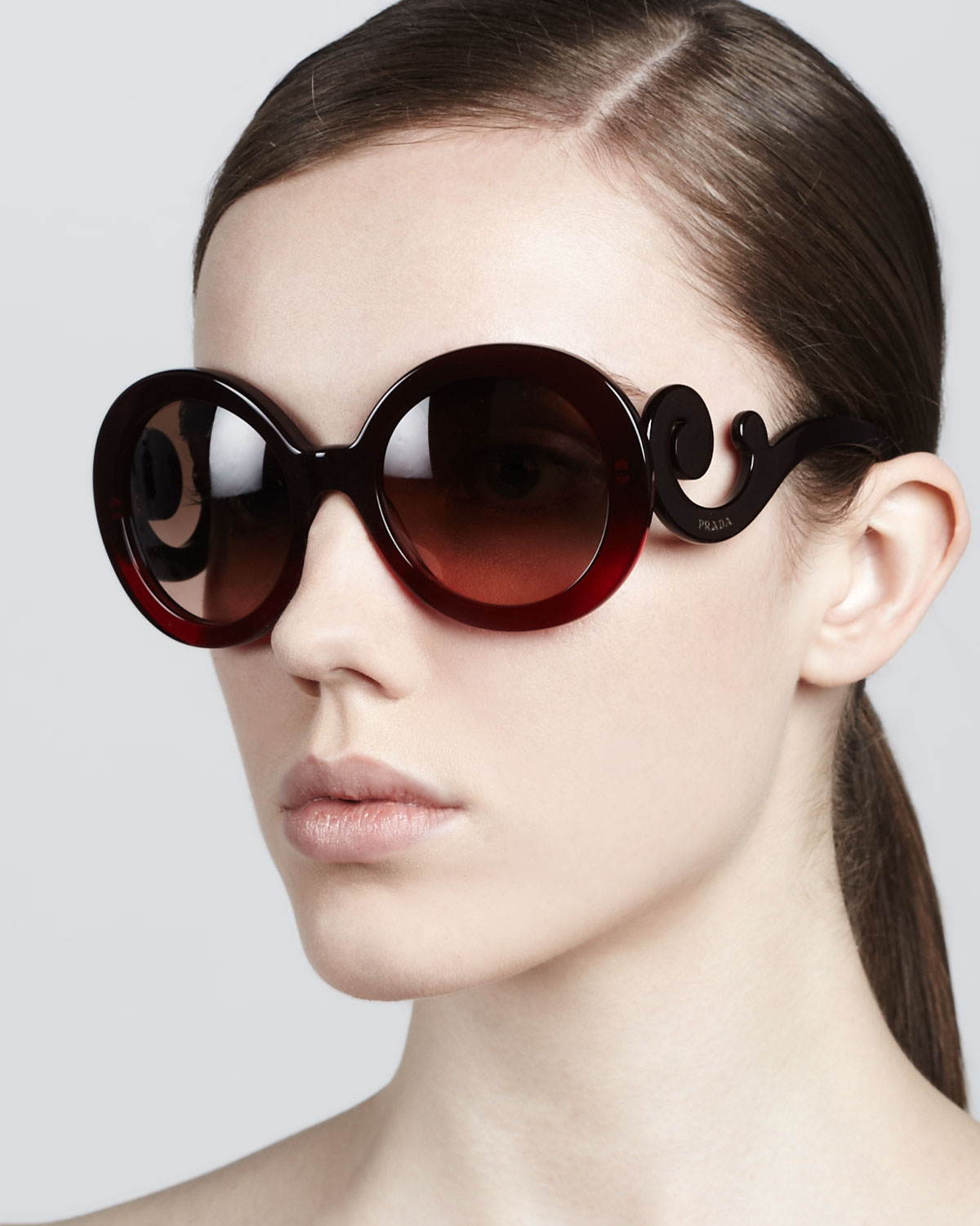 994ab8ee060d ... low cost lyst prada baroque round sunglasses r in brown f4500 f8094