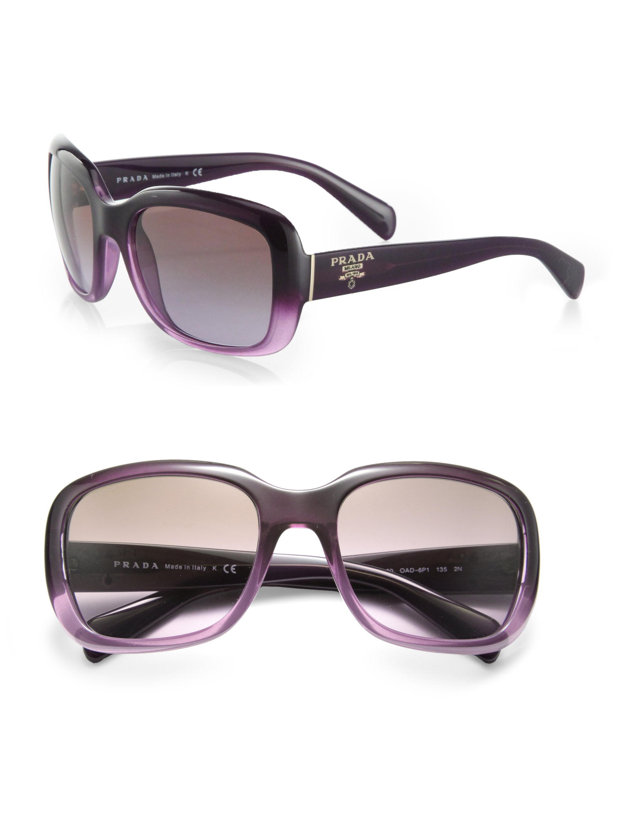 77c695452eeb ... reduced lyst prada oversized square glam sunglasses in purple a44c2  1eb4c
