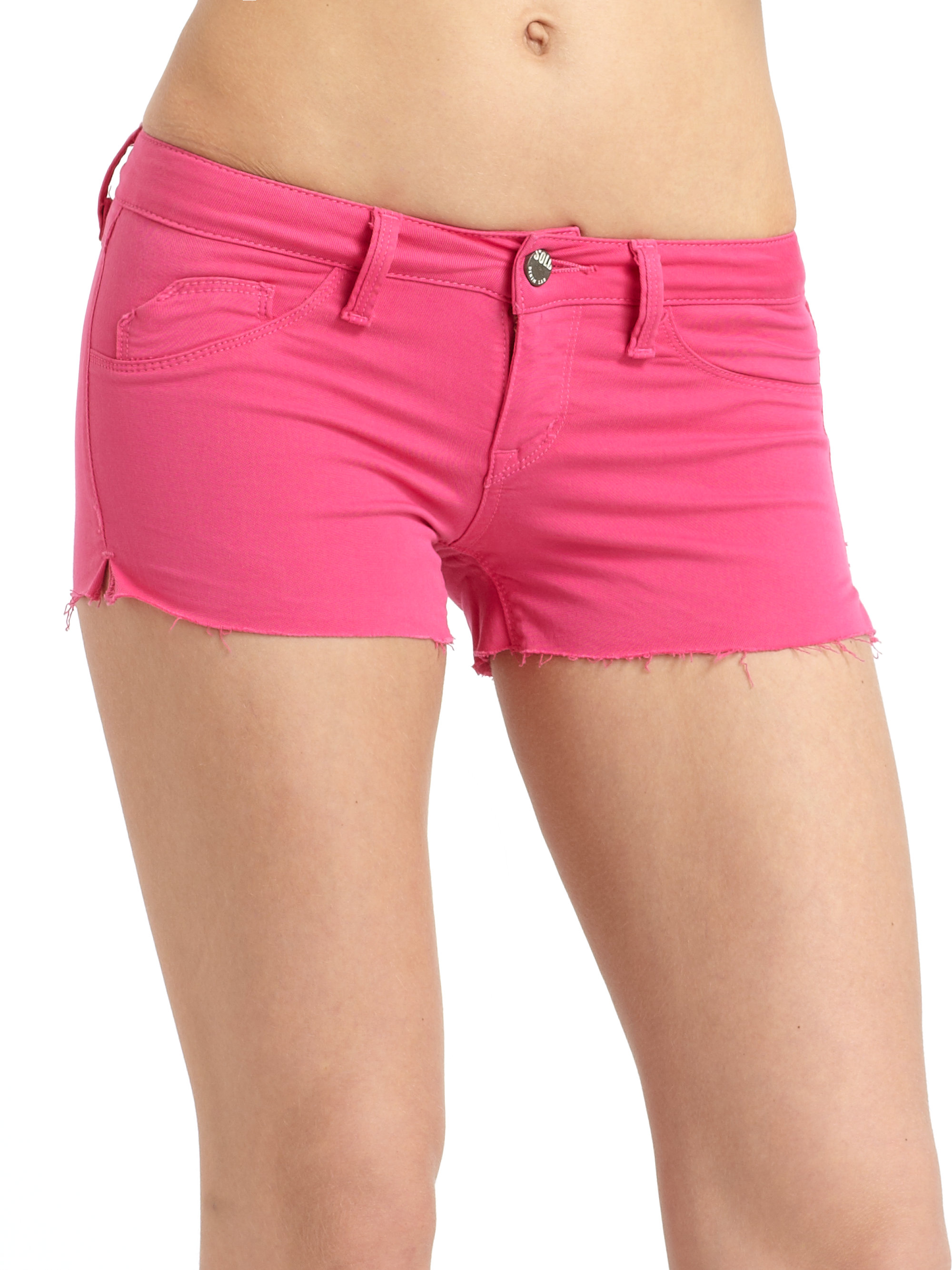 Sold design lab Bleeker Colored Denim Shorts in Pink | Lyst