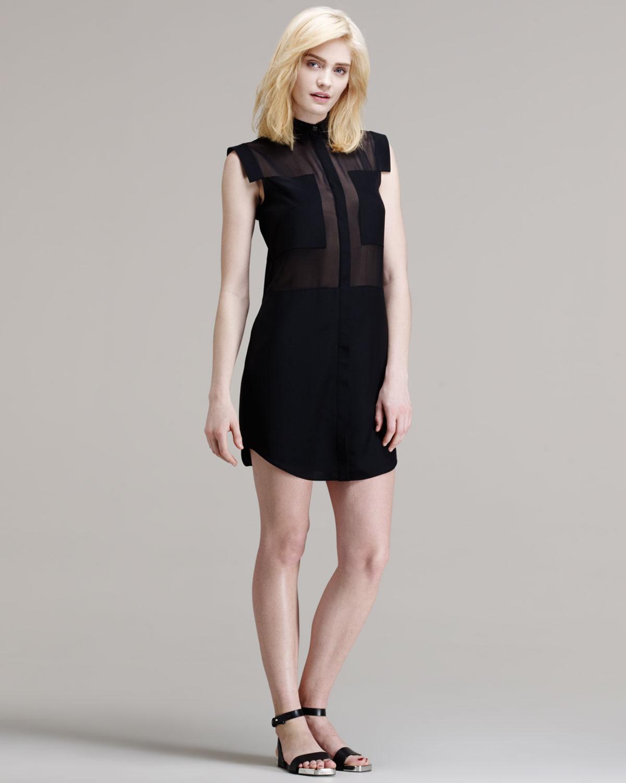 T by alexander wang Paneled Sheer Silk Shirt Dress in Black   Lyst