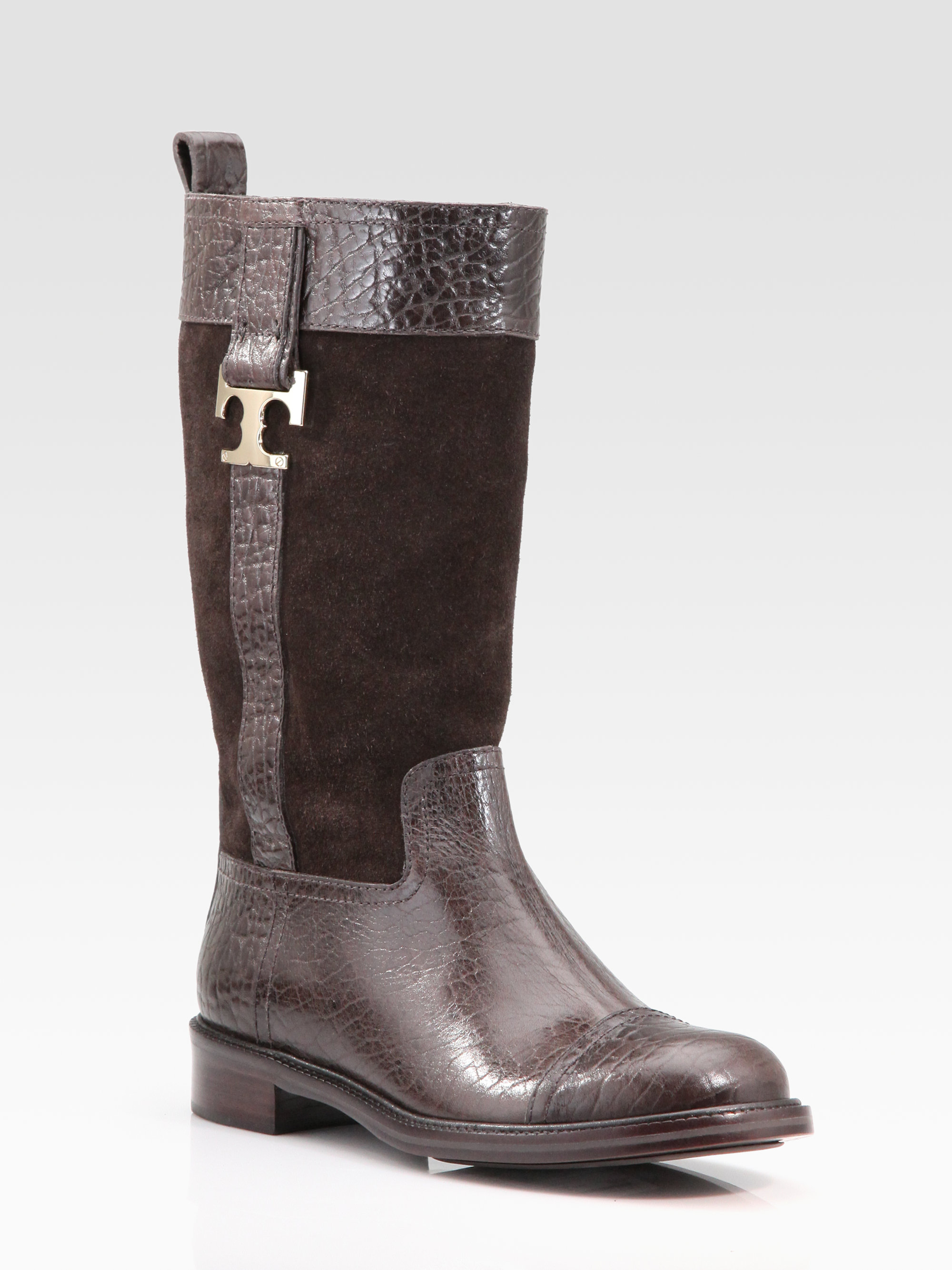 Tory Burch Suede Logo Mid-Calf Boots cheap recommend jbK2zcr