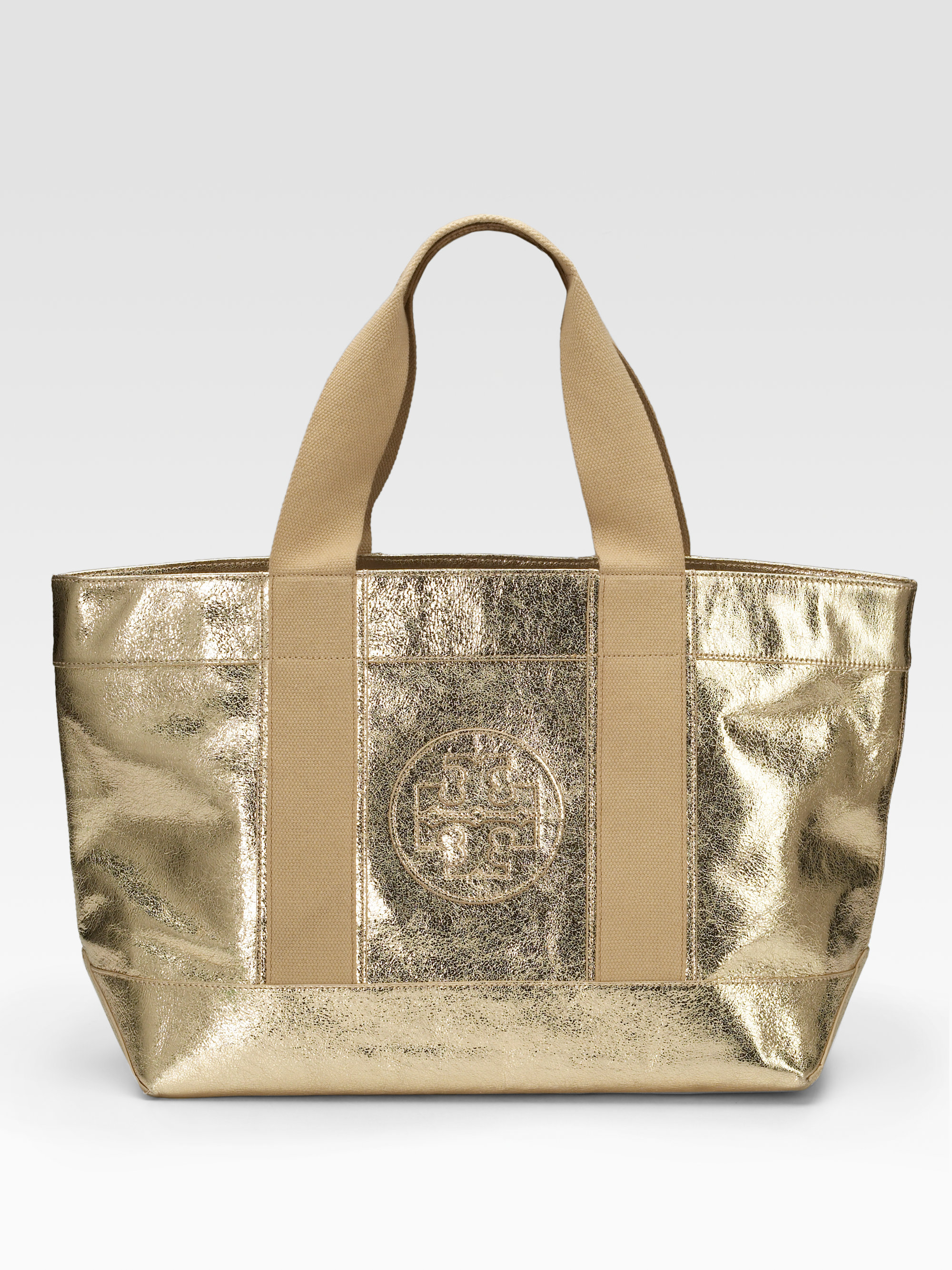 Tory burch Tory Metallic Leather Beach Tote in Metallic | Lyst