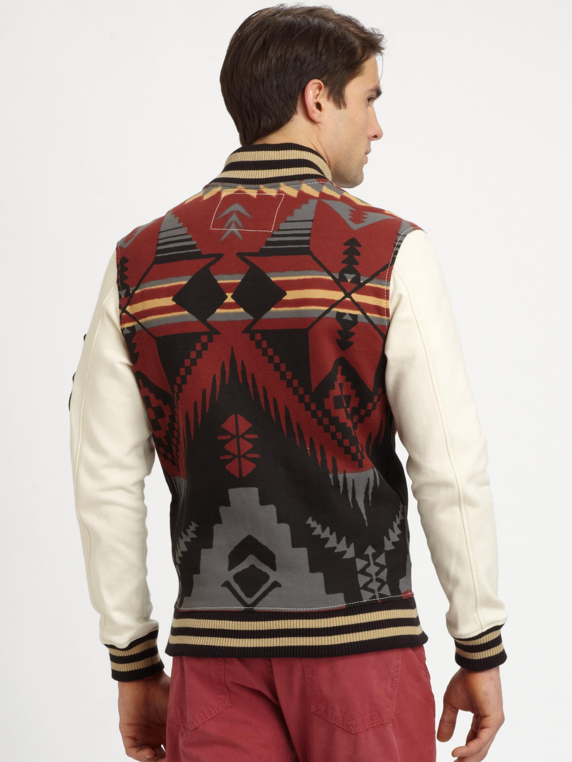 Lyst True Religion Printed Fleece Varsity Jacket For Men