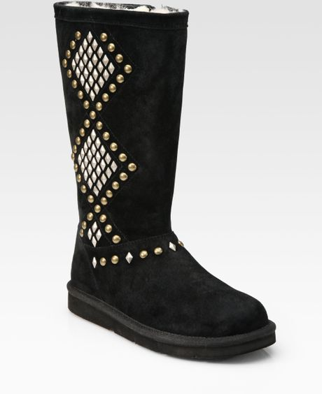 Ugg Avondale Studded Suede Midcalf Boots In Black Lyst