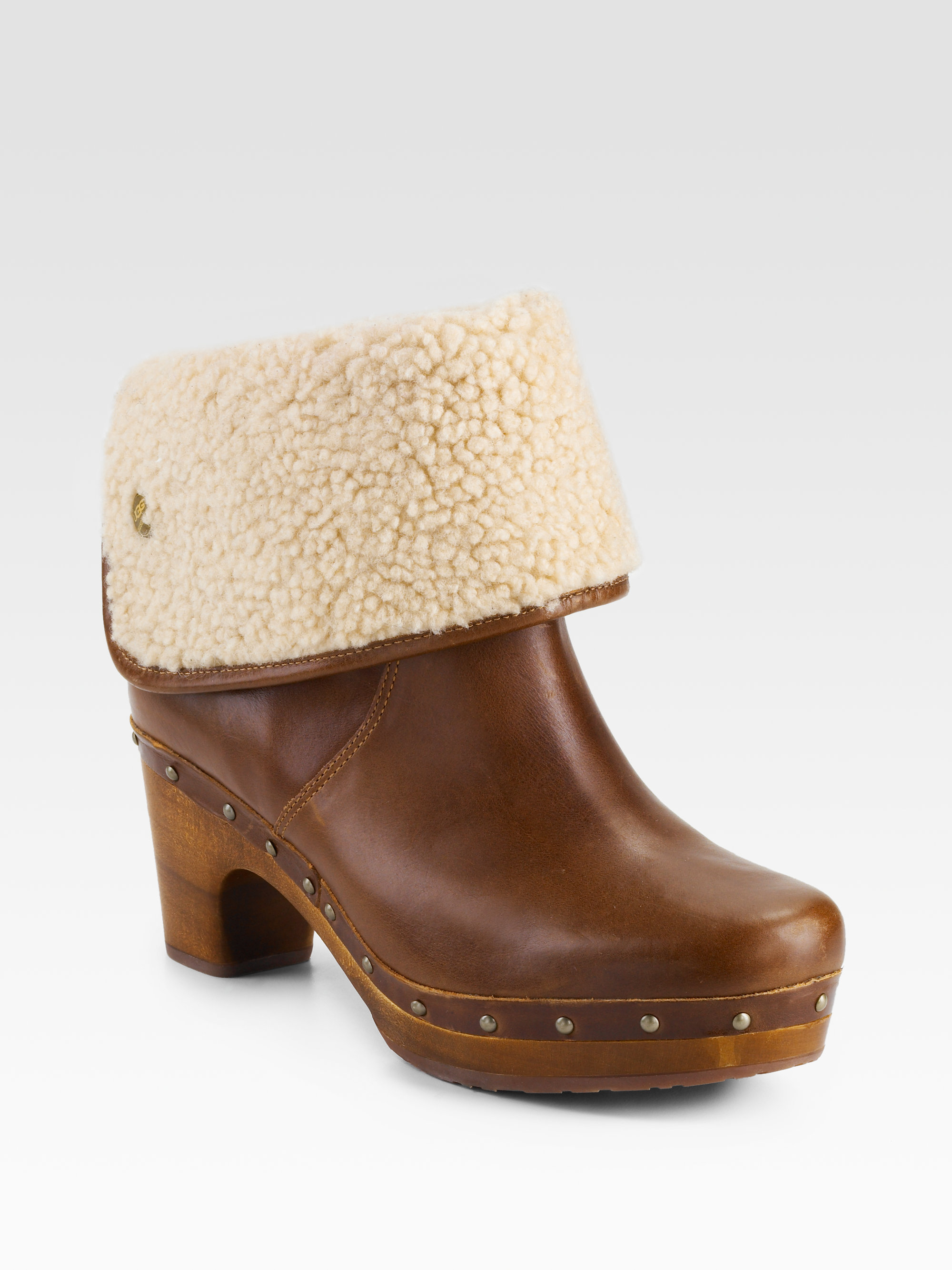ugg lynnea clog shearlinglined ankle boots in brown